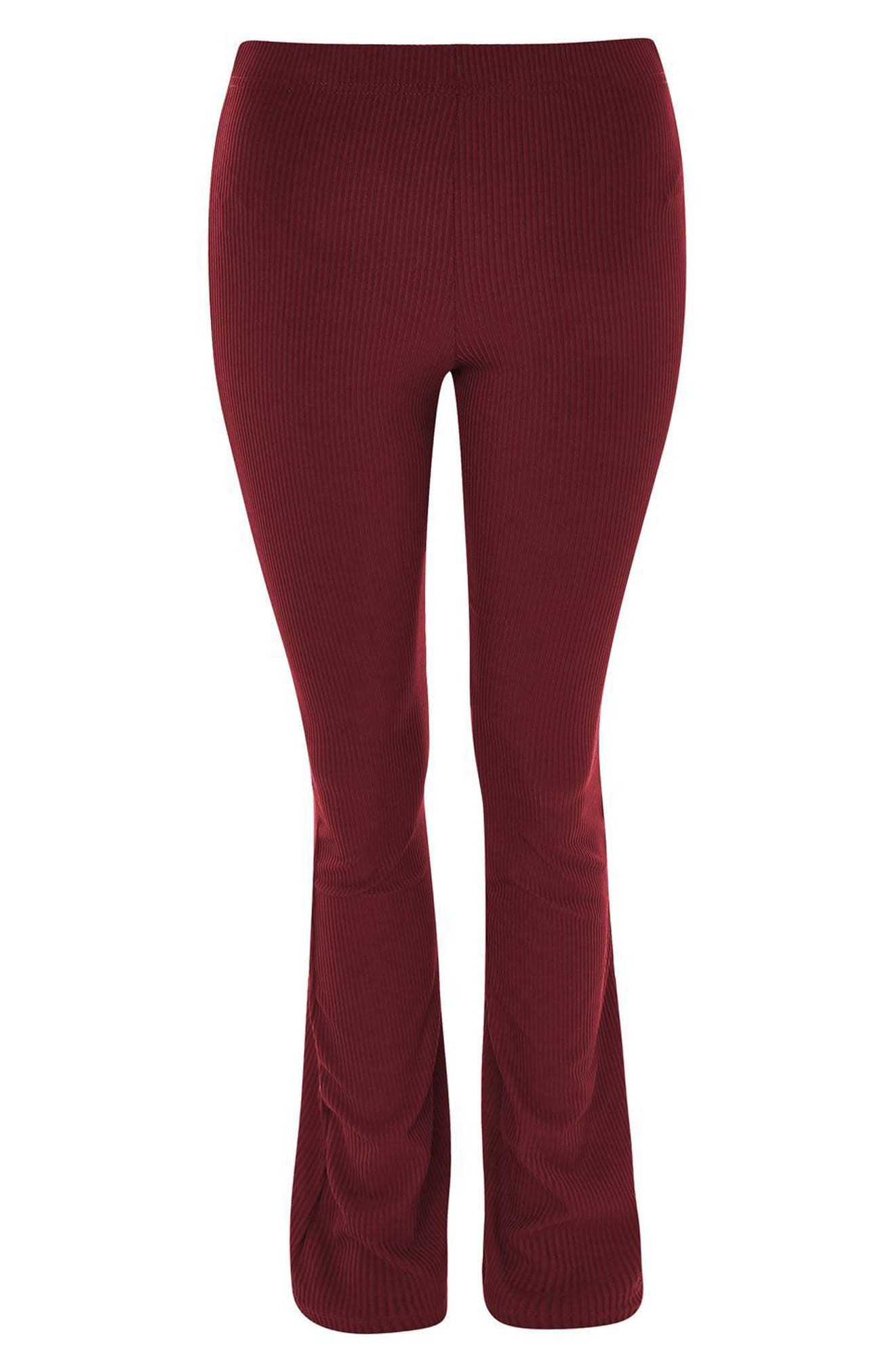 Ribbed Flare Pants,                             Alternate thumbnail 4, color,                             Burgundy