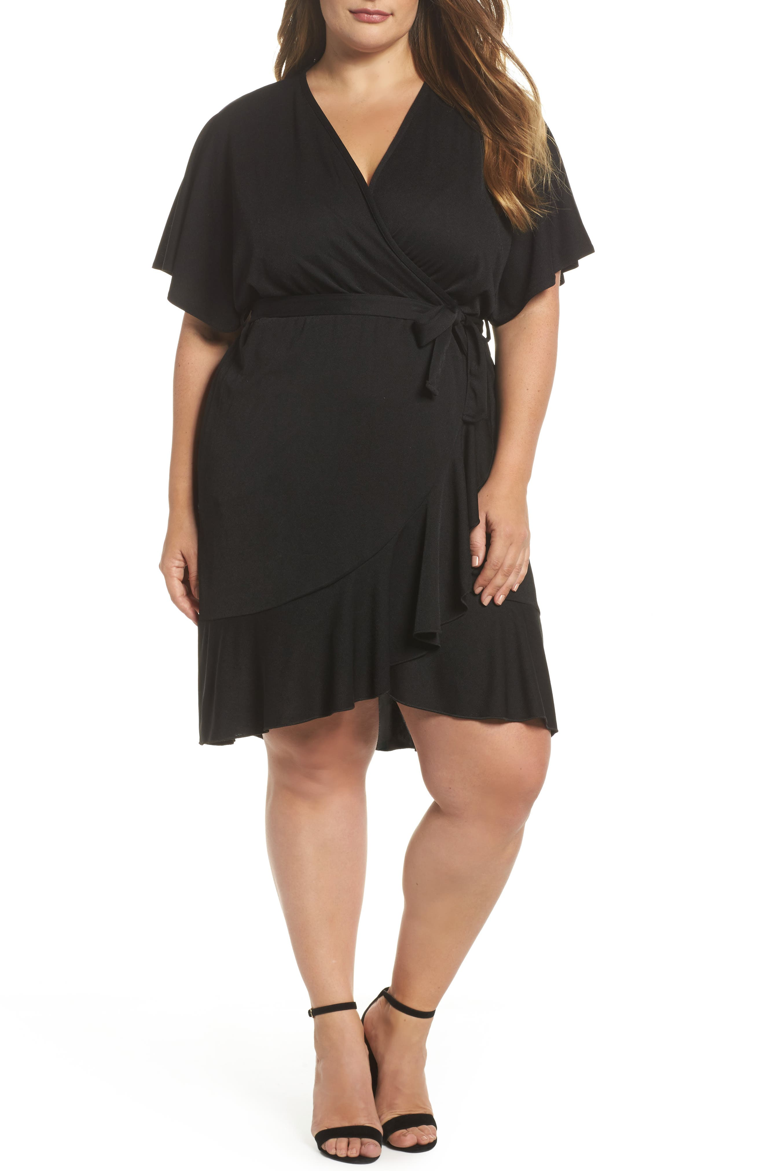 Glamorous Flutter Sleeve Wrap Dress (Plus Size)