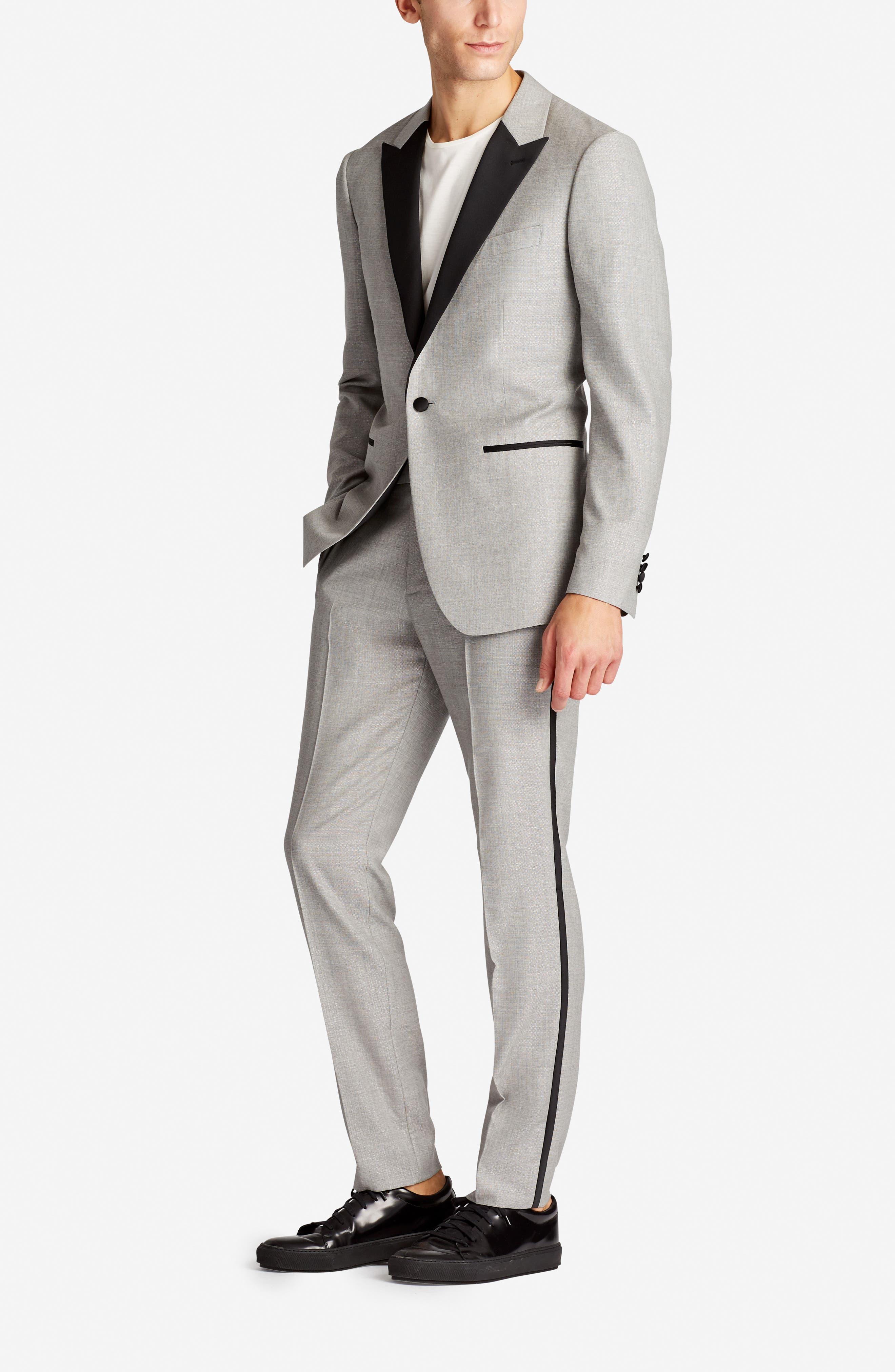 Capstone Flat Front Tuxedo Trousers,                             Alternate thumbnail 5, color,                             Pearl Grey