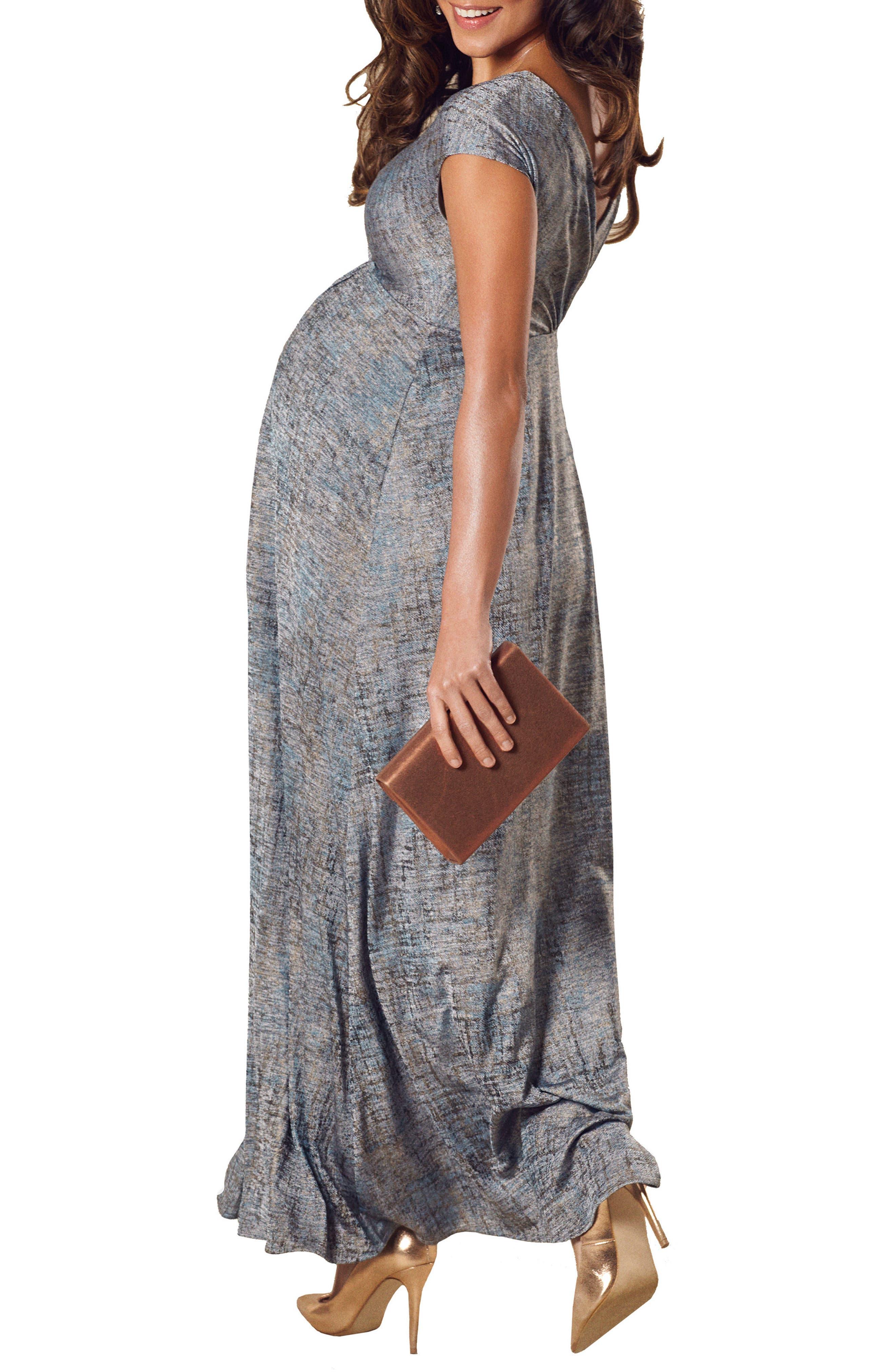 Francesca Maternity Gown,                             Alternate thumbnail 2, color,                             Bronze Blue