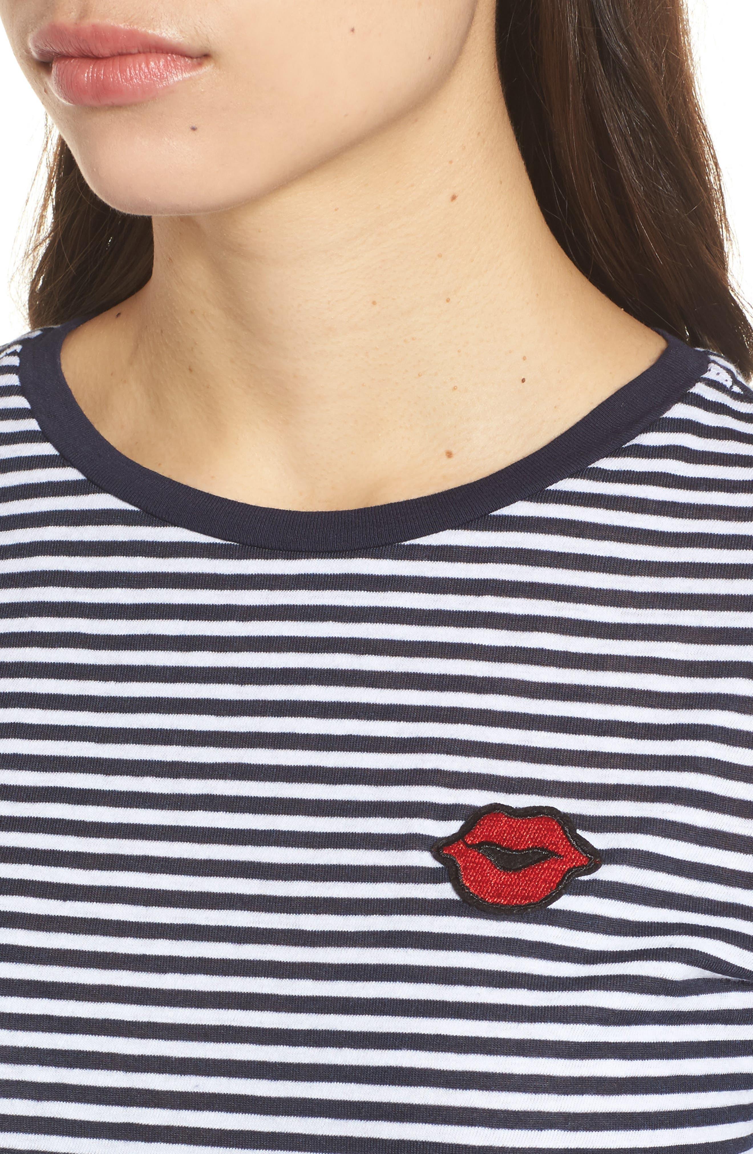 Lips Appliqué Stripe Tee,                             Alternate thumbnail 4, color,                             Navy