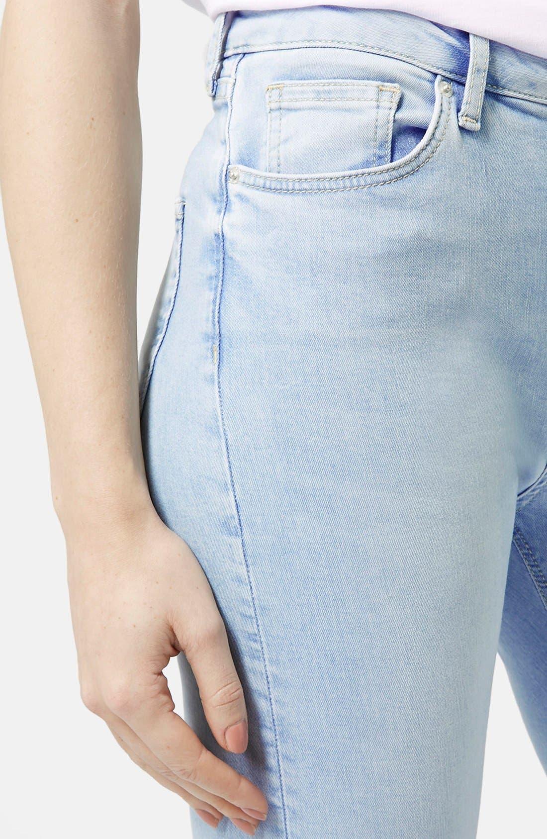 Alternate Image 4  - Topshop Moto 'Jamie' Bleached Skinny Jeans (Light Denim) (Regular & Short)