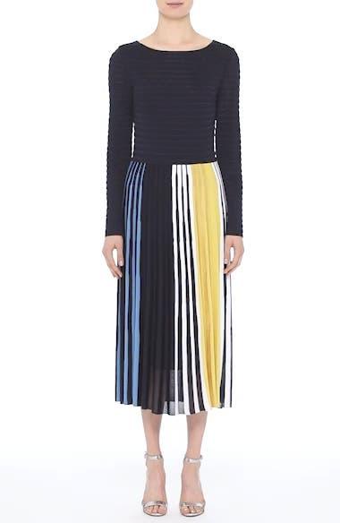 St. John Collection Multicolor Ombré Placed Stripe Knit Dress