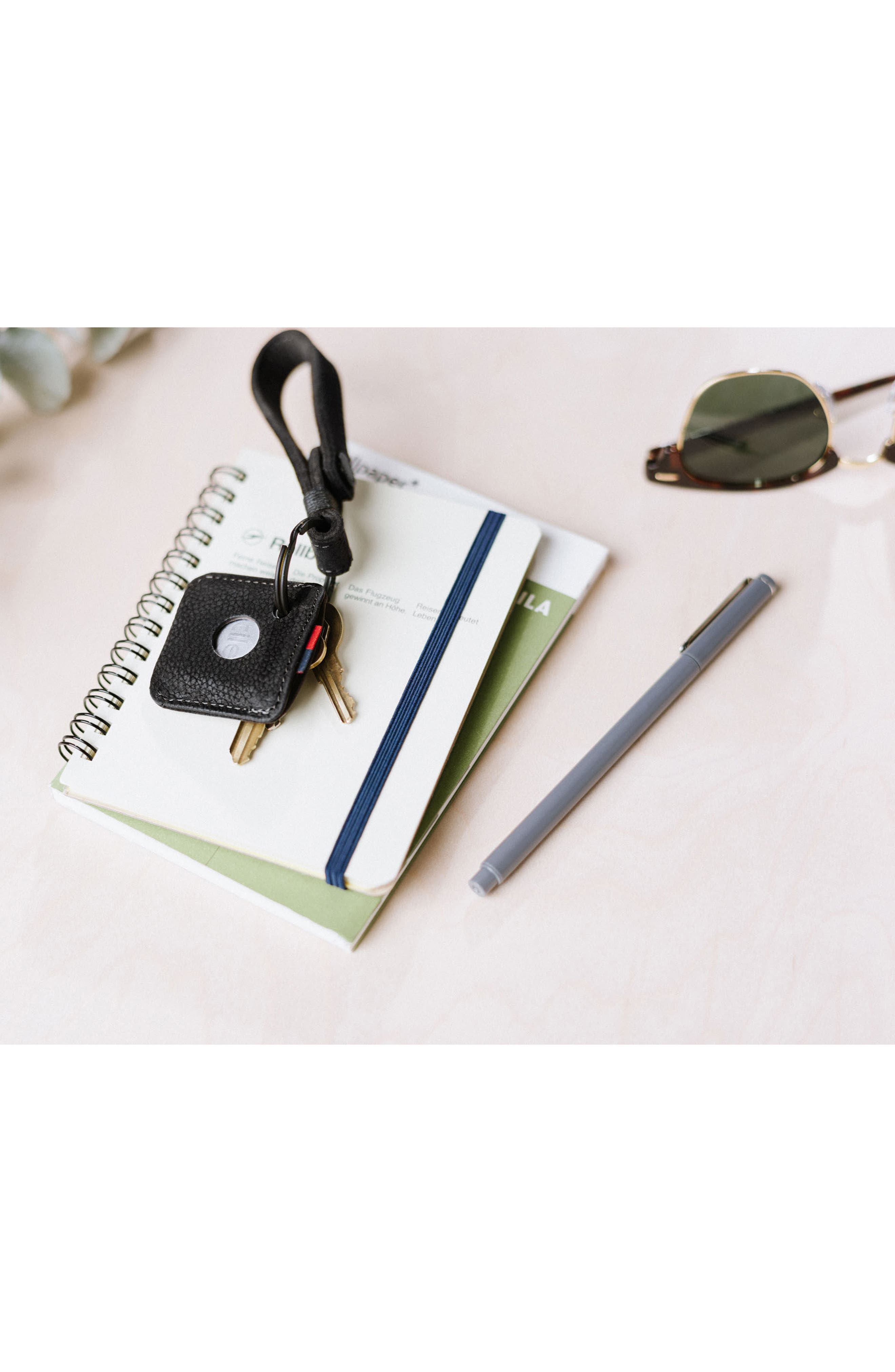 Tile Leather Key Chain,                             Alternate thumbnail 4, color,                             Black Pebbled Leather