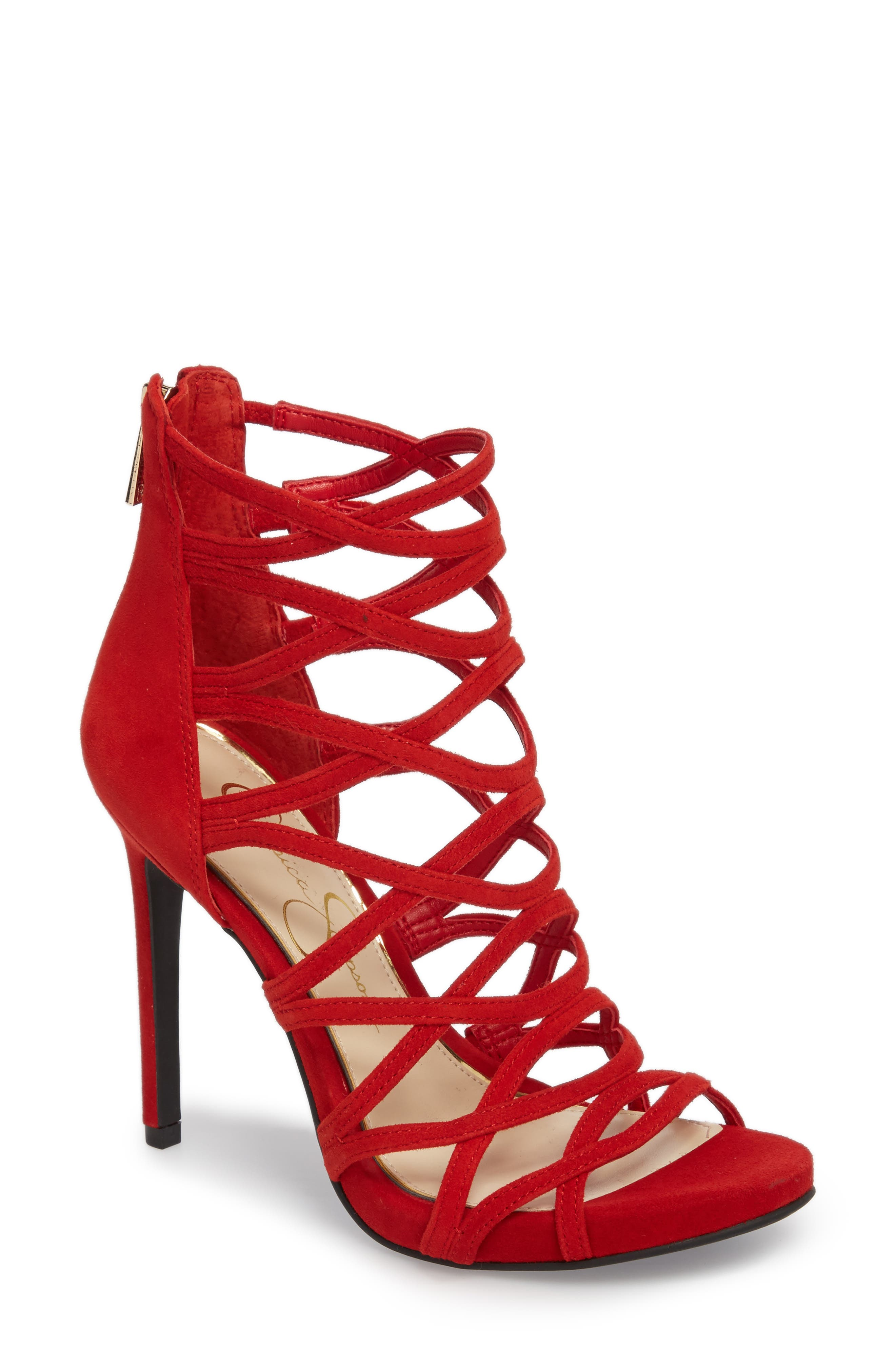 Razella Cage Sandal,                         Main,                         color, Red Muse Suede