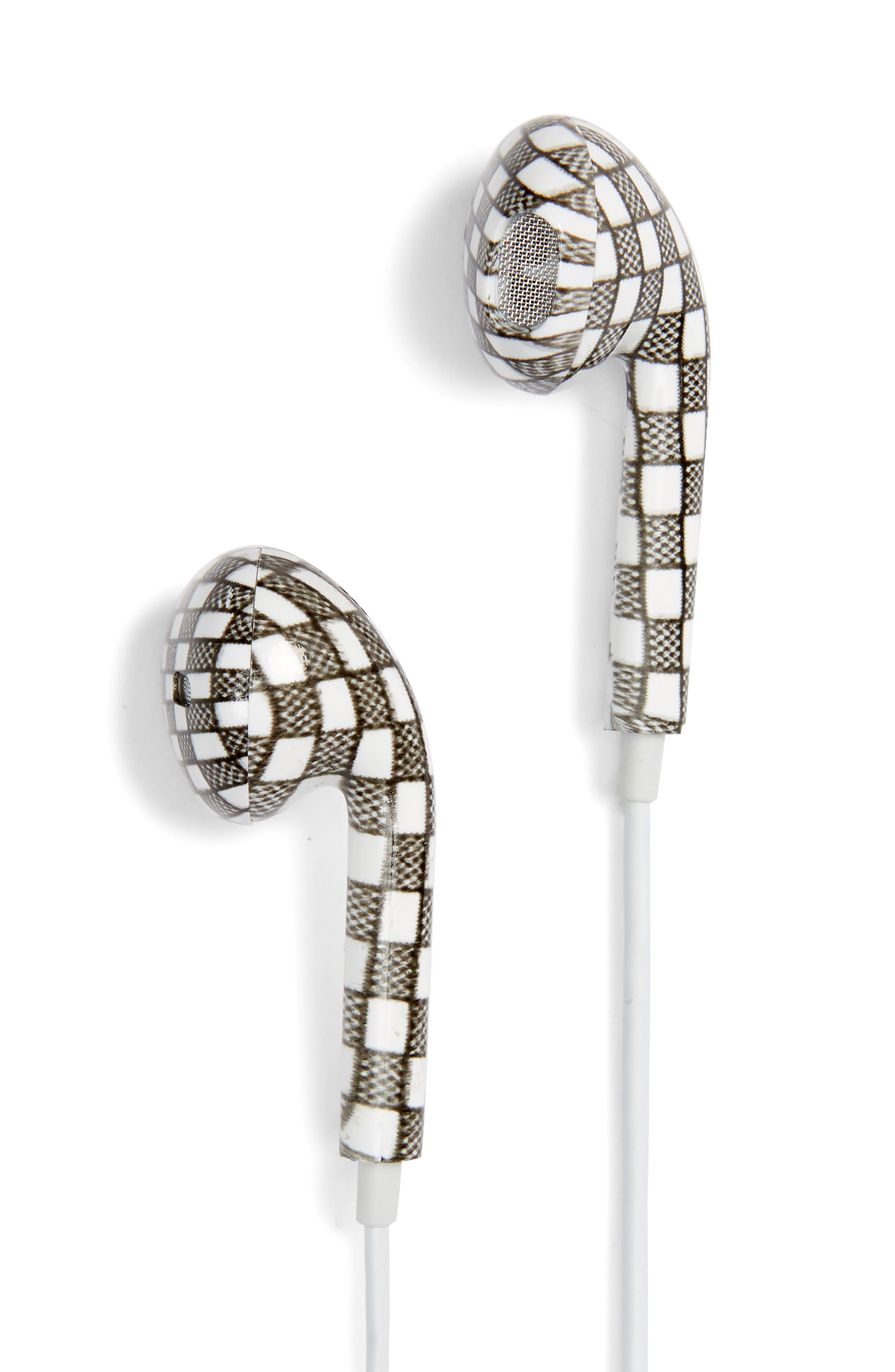Checker Print Earbuds,                         Main,                         color, Black/ White