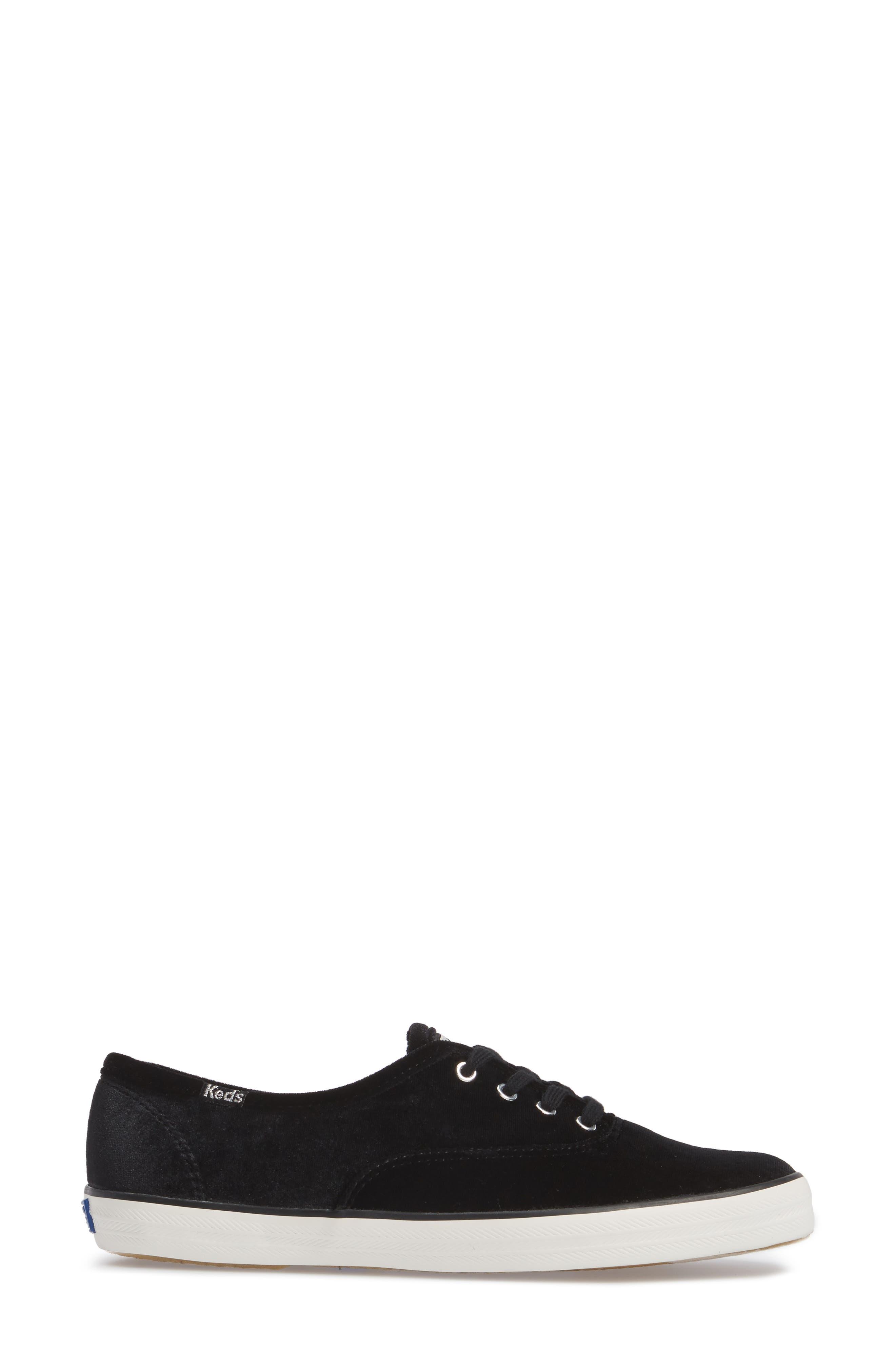 Champion Velvet Sneaker,                             Alternate thumbnail 3, color,                             Black
