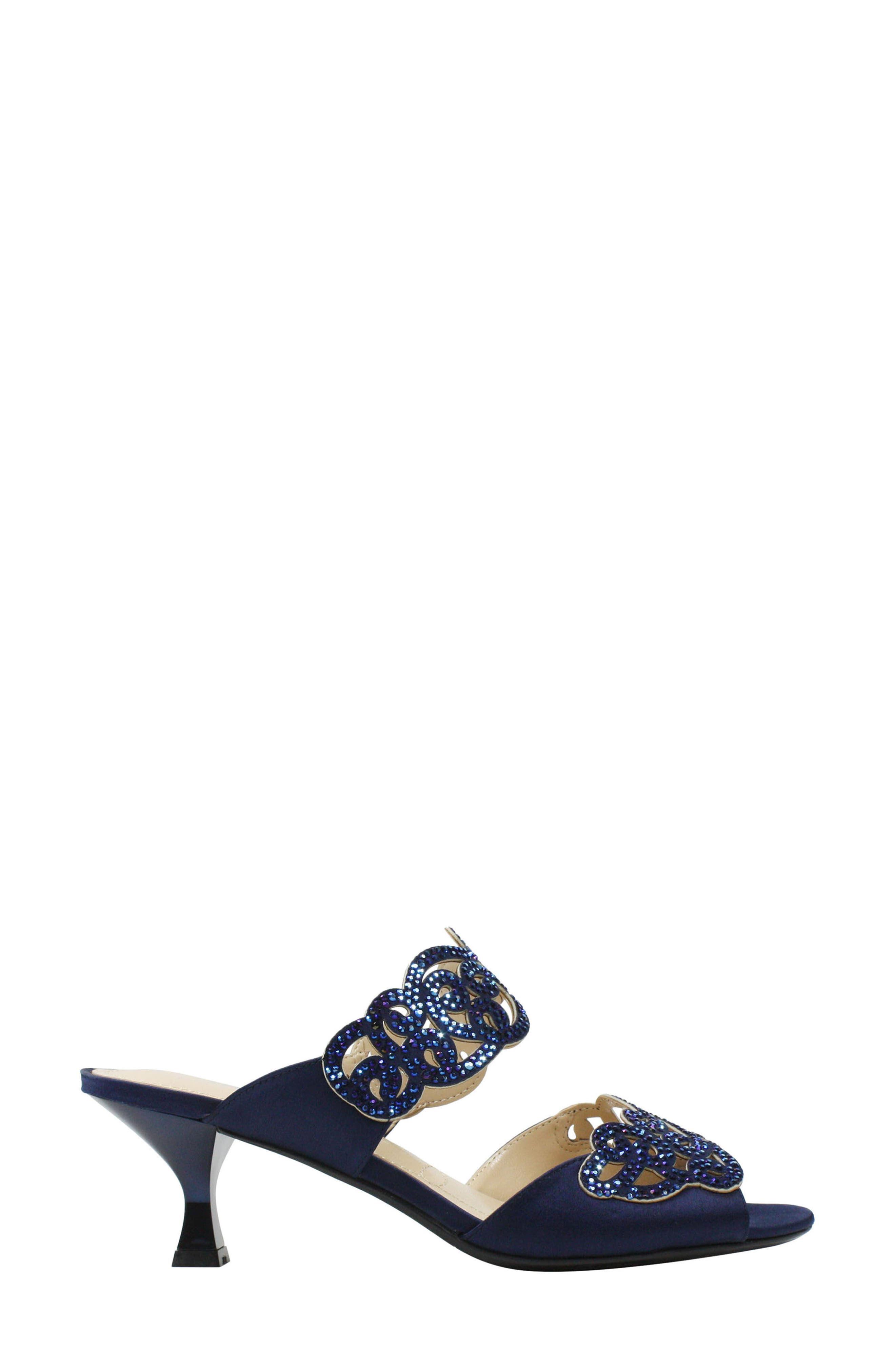 'Francie' Evening Sandal,                             Alternate thumbnail 3, color,                             Navy Fabric