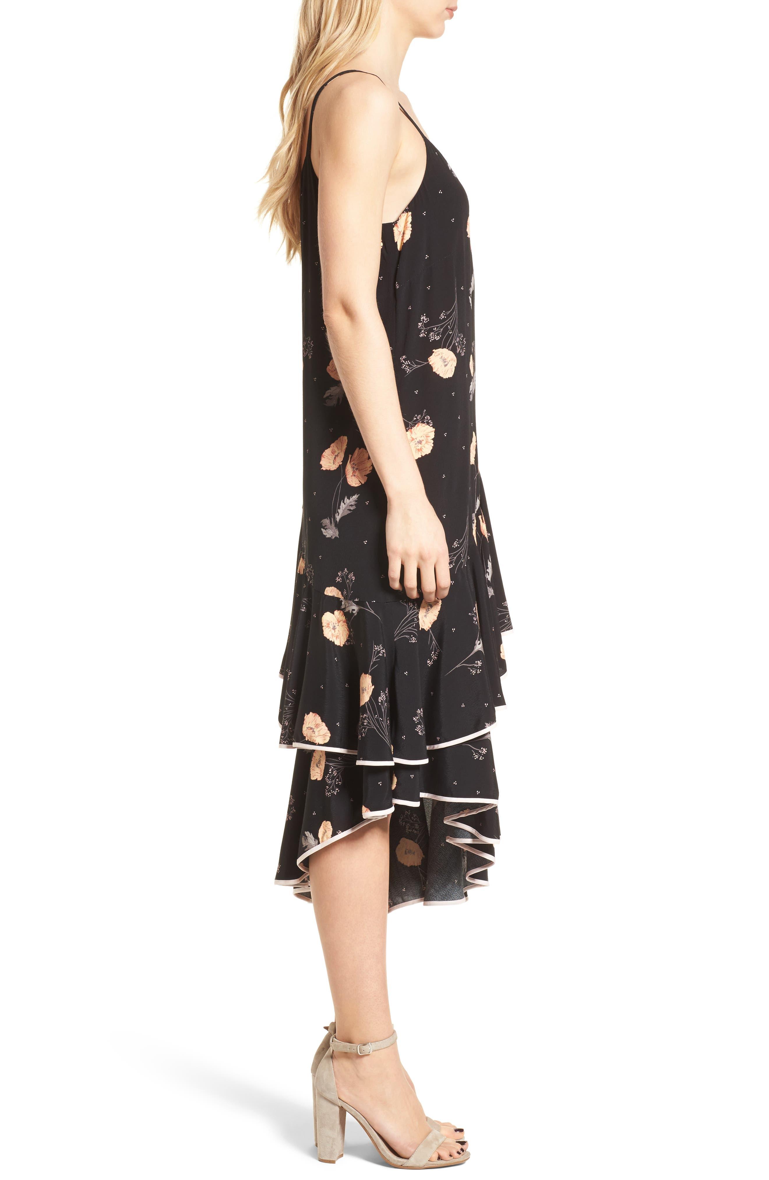 Asymmetrical Ruffle Midi Dress,                             Alternate thumbnail 3, color,                             Black Spring Bloom
