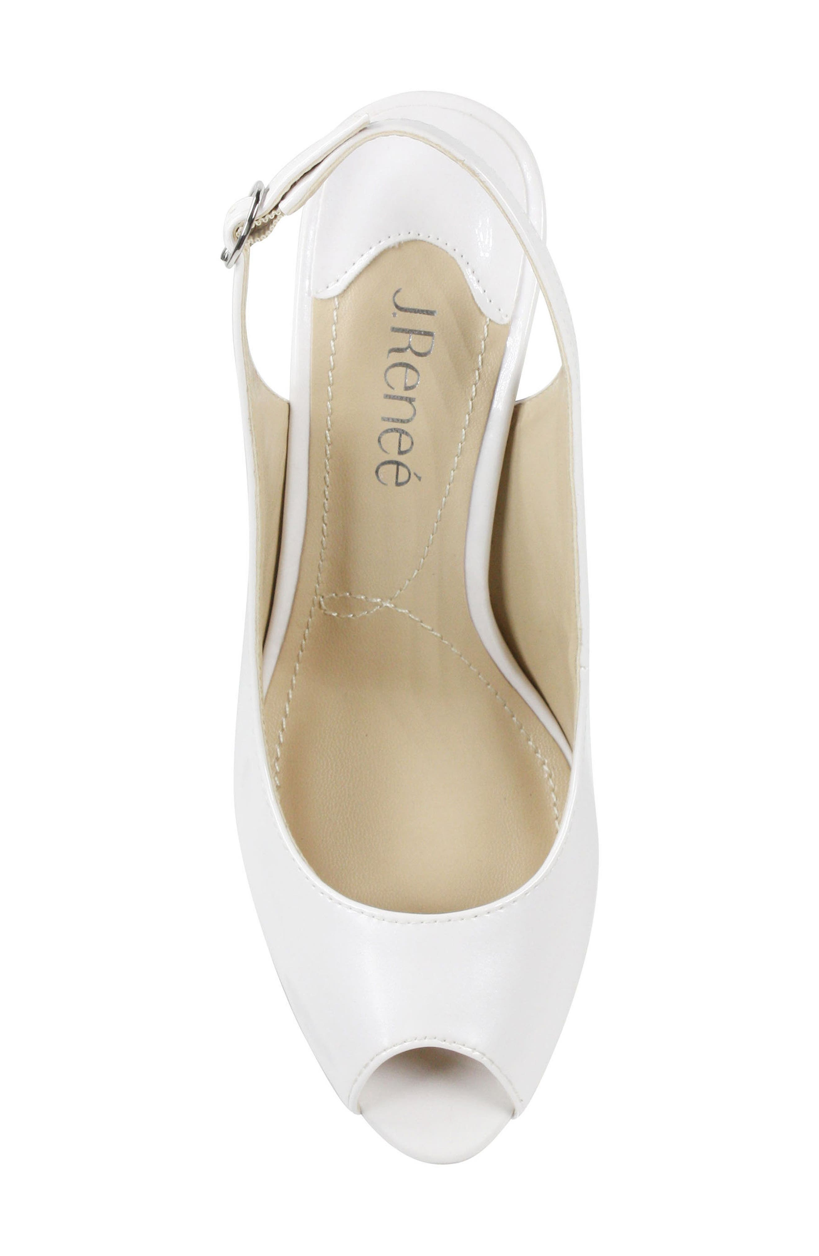 Onille Slingback Pump,                             Alternate thumbnail 5, color,                             Pearl White Faux Leather