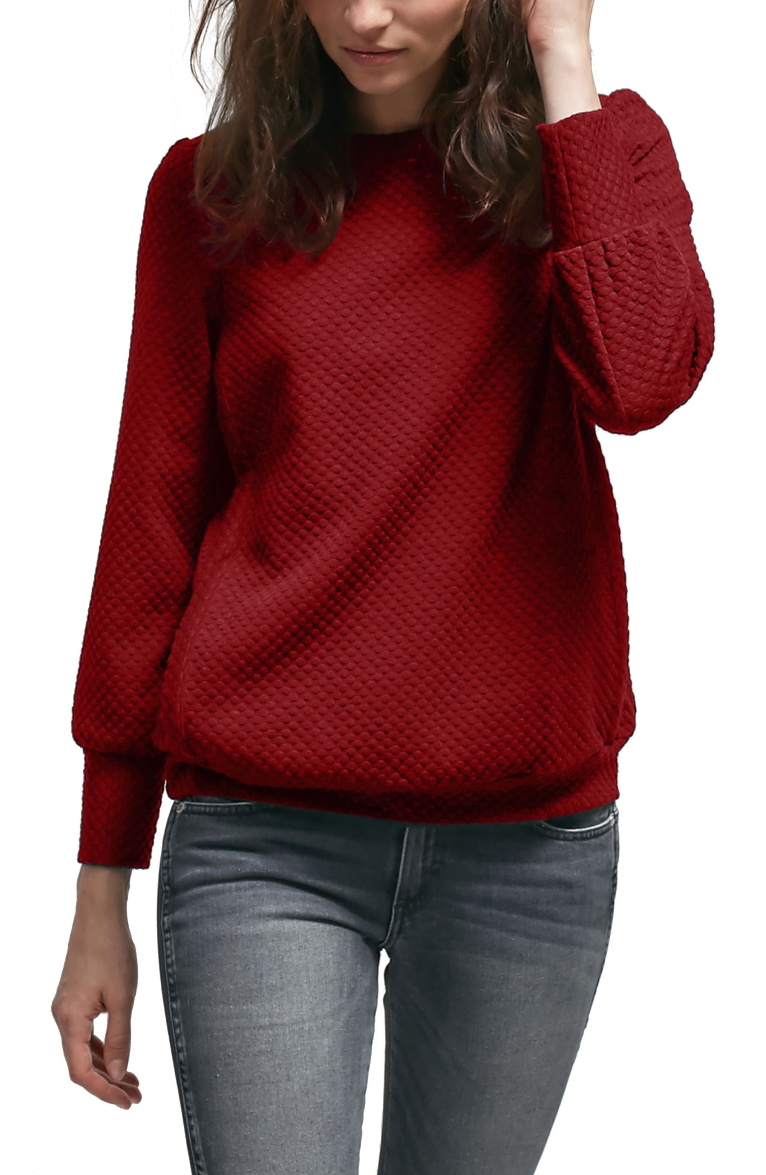 Esther Nursing Sweater,                         Main,                         color, Ruby
