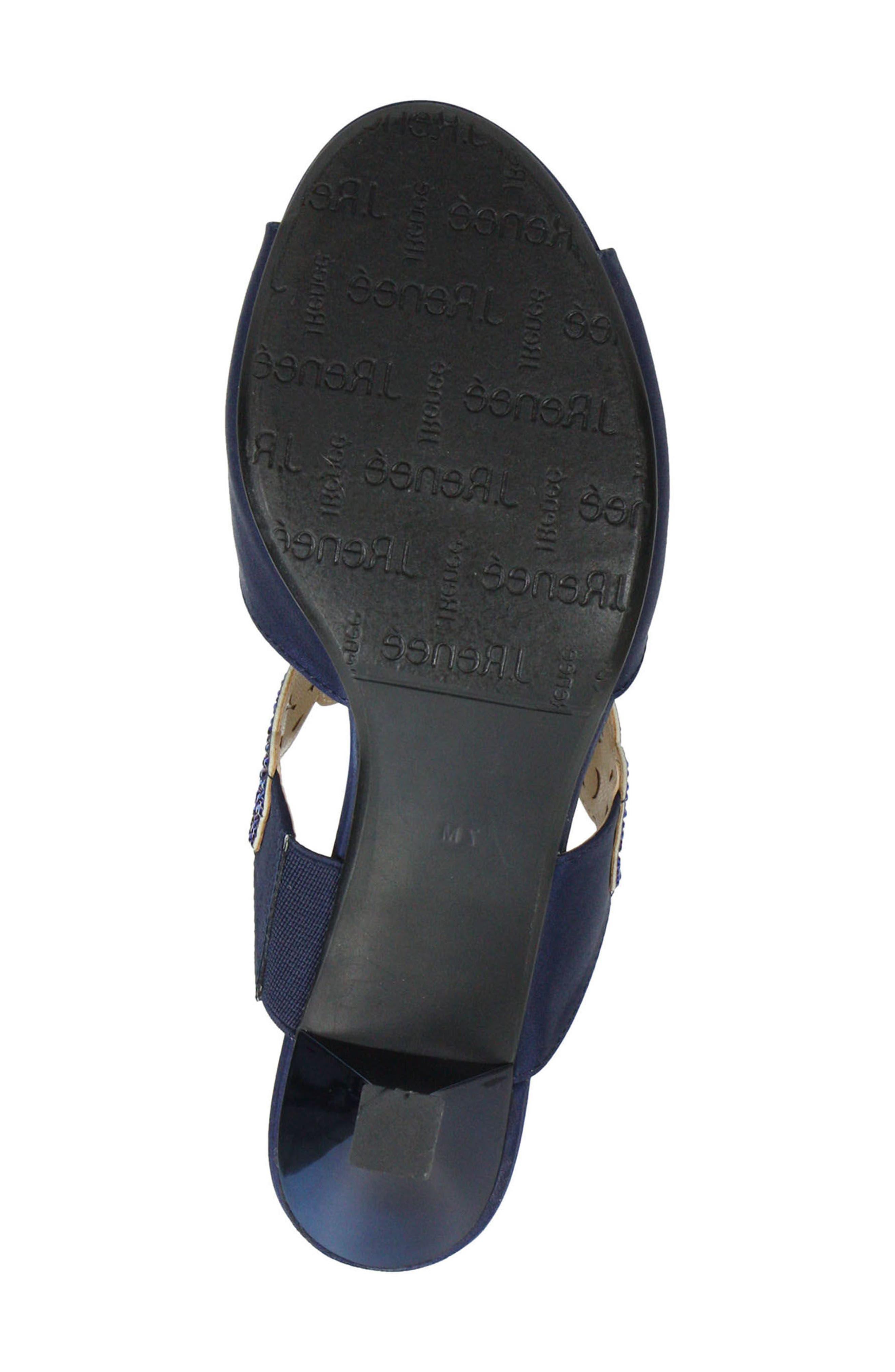 'Francie' Evening Sandal,                             Alternate thumbnail 5, color,                             Navy Fabric