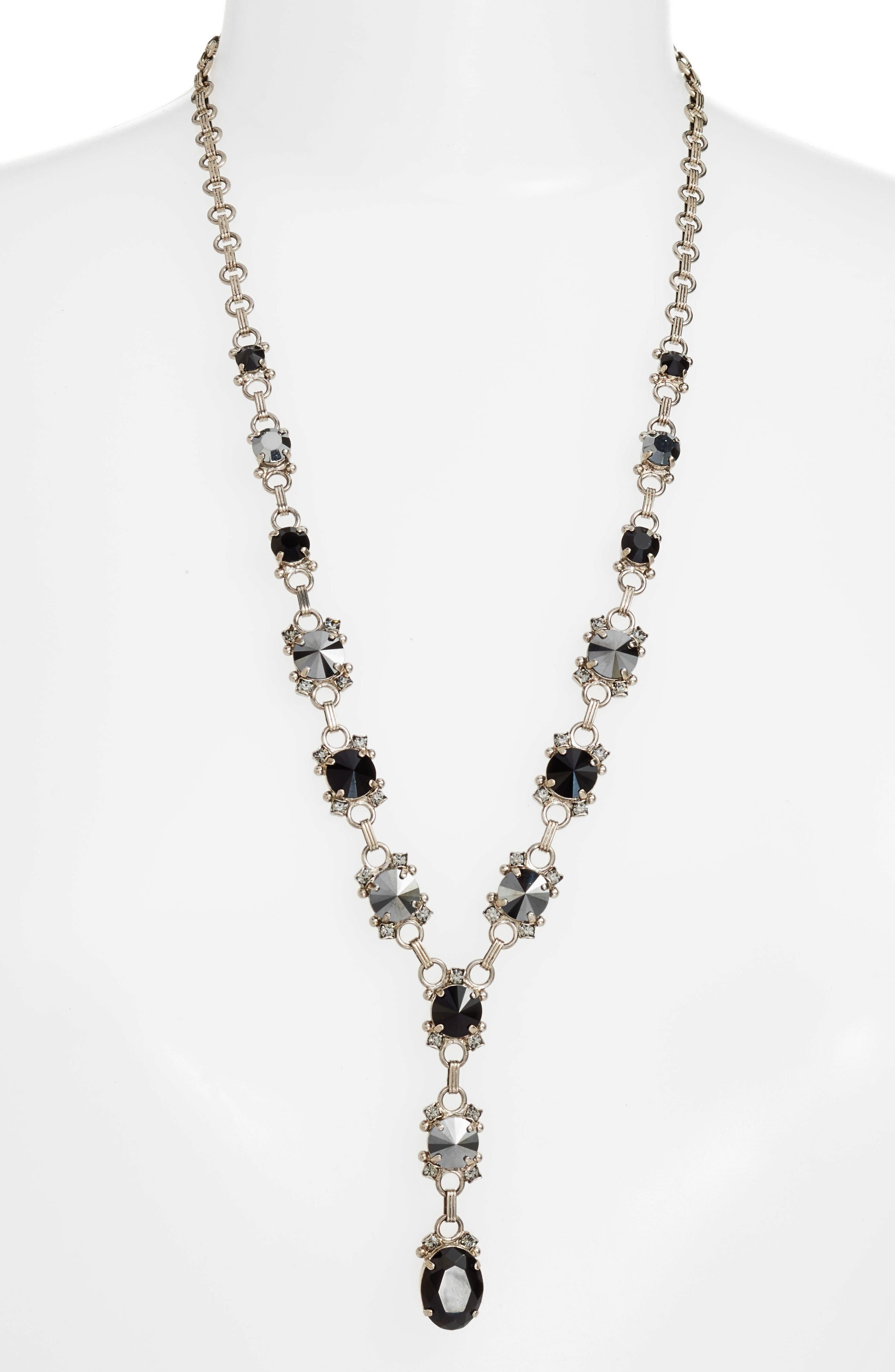 Marigold Crystal Station Y-Necklace,                             Main thumbnail 1, color,                             Black