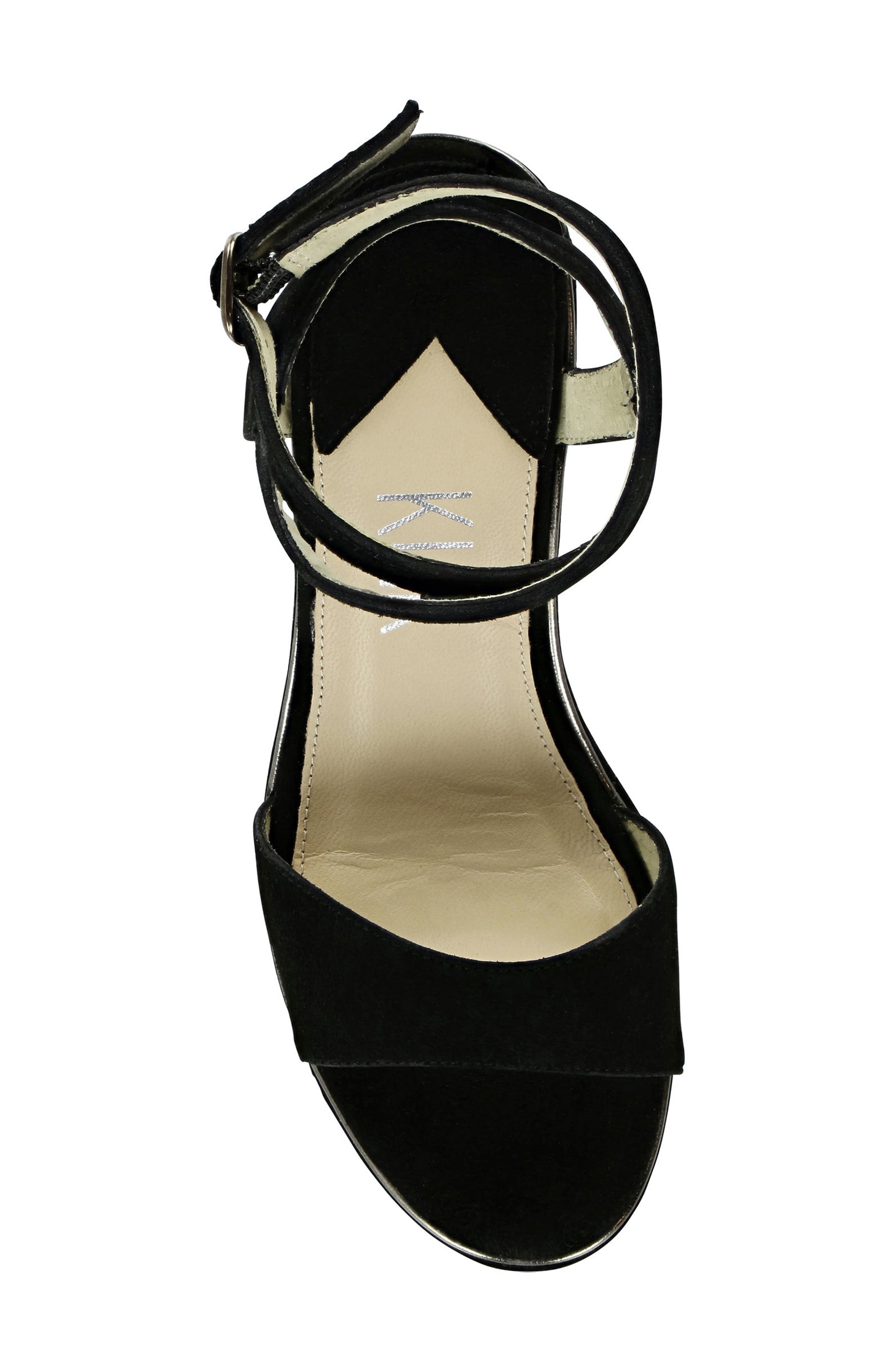 Sashi Platform Sandal,                             Alternate thumbnail 5, color,                             Black Suede
