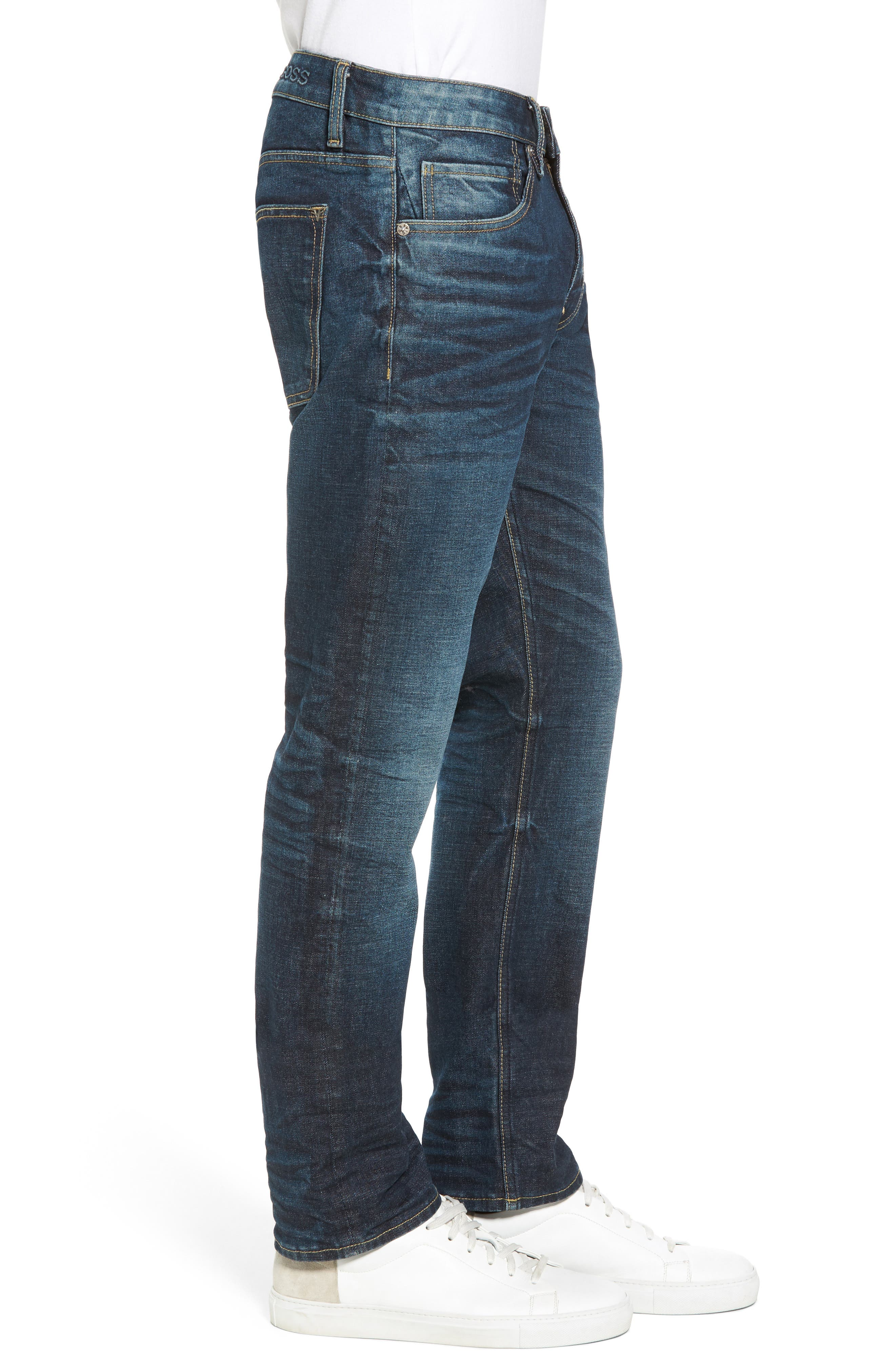 Slim Straight Leg Jeans,                             Alternate thumbnail 3, color,                             Dark Wash