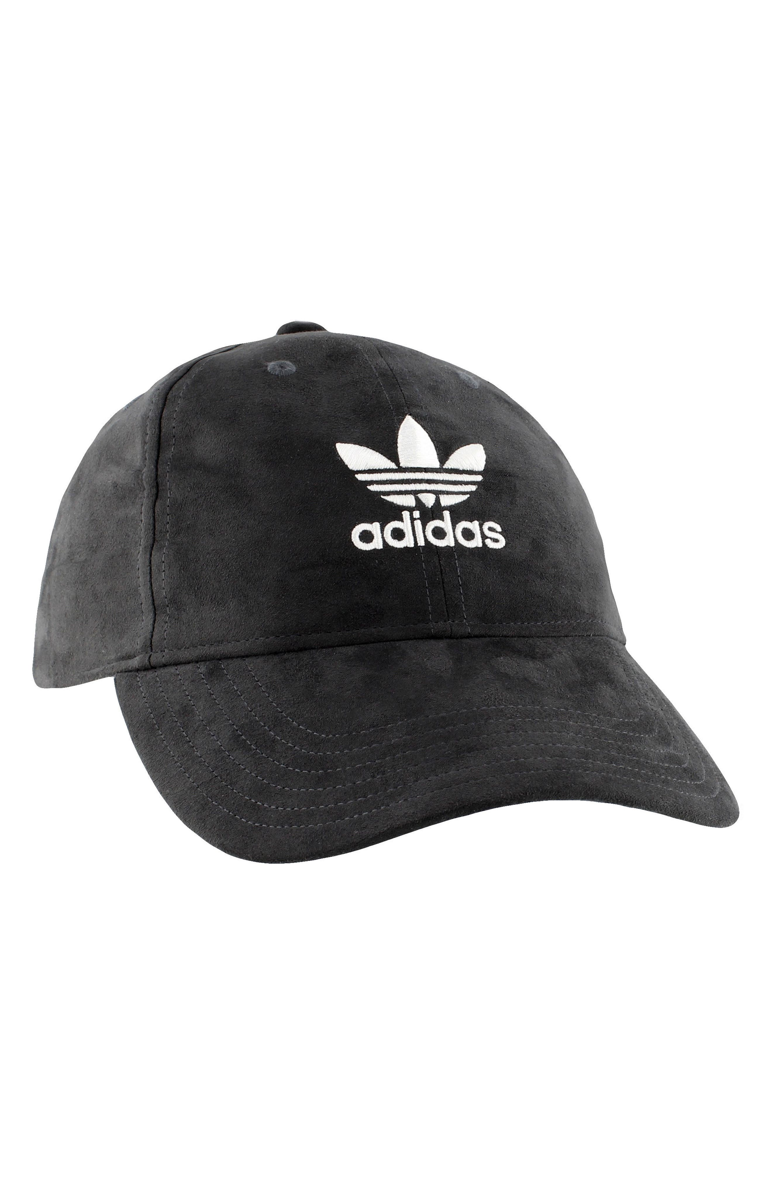 Originals Relaxed Cap,                         Main,                         color, Dark Grey Suede/ White