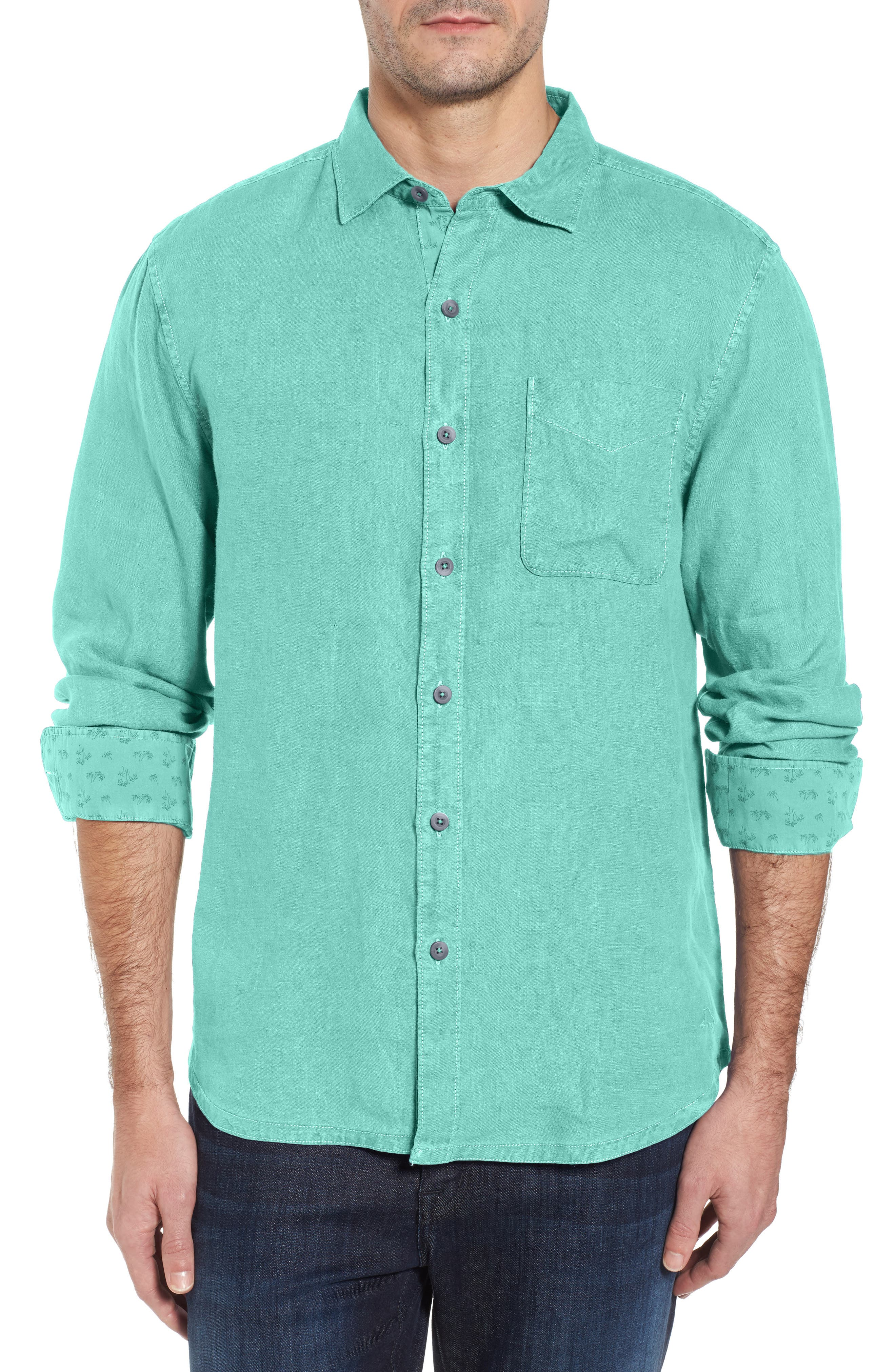 Seaspray Breezer Standard Fit Linen Sport Shirt,                             Main thumbnail 1, color,                             Cave Green