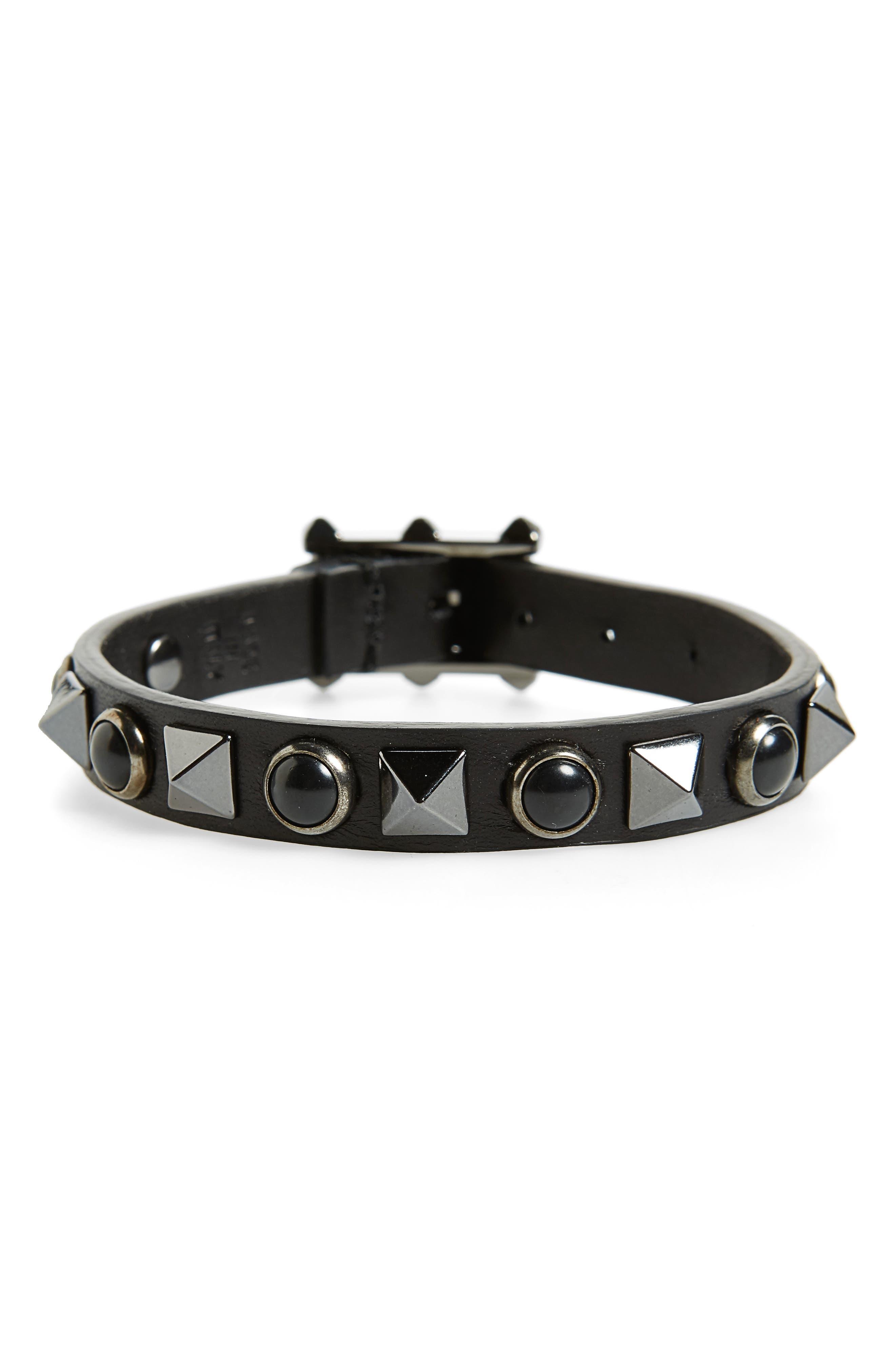 Valentino Rock Stud Leather Bracelet