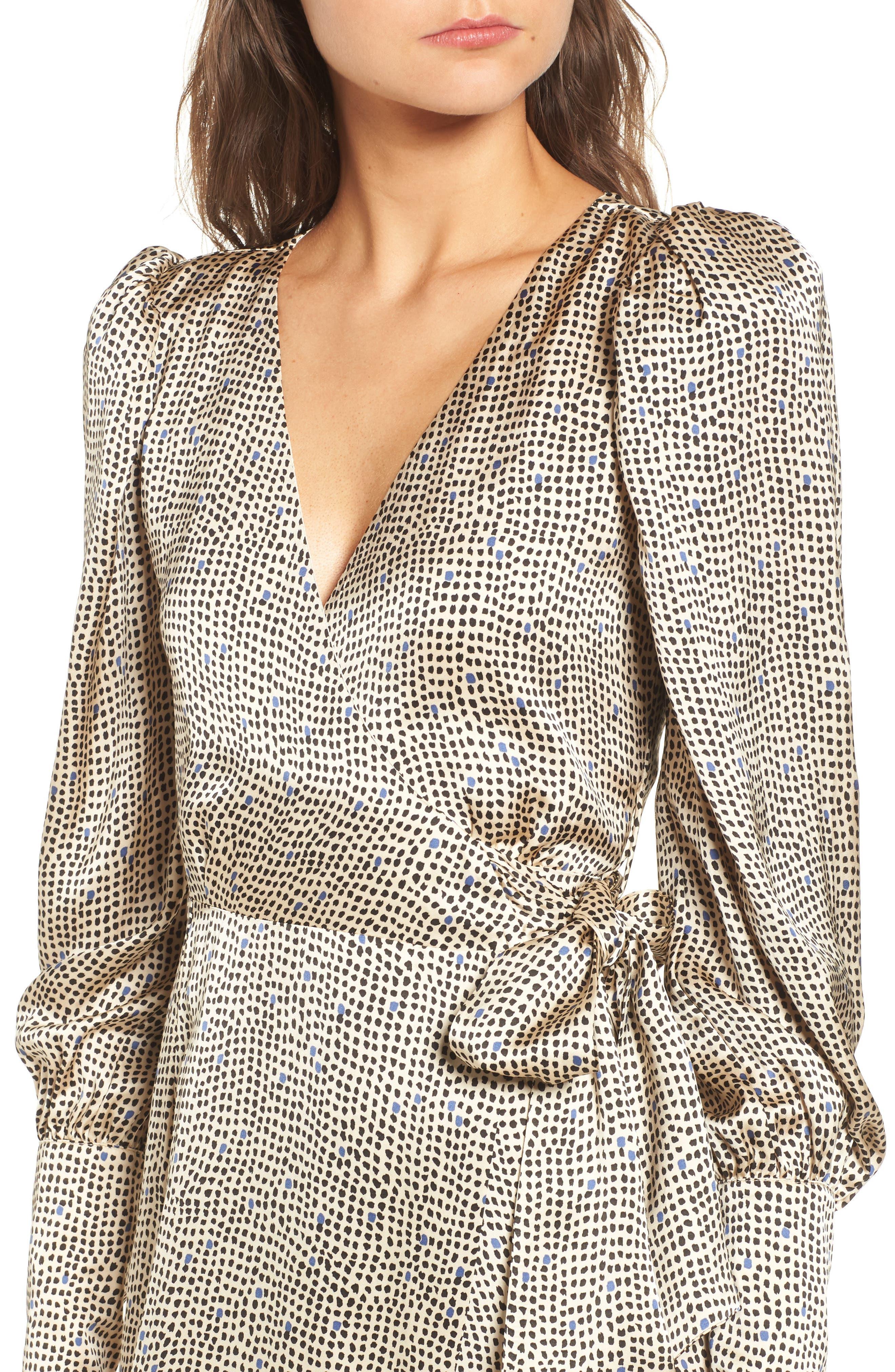 Mini Spot Wrap Dress,                             Alternate thumbnail 4, color,                             Beige Multi