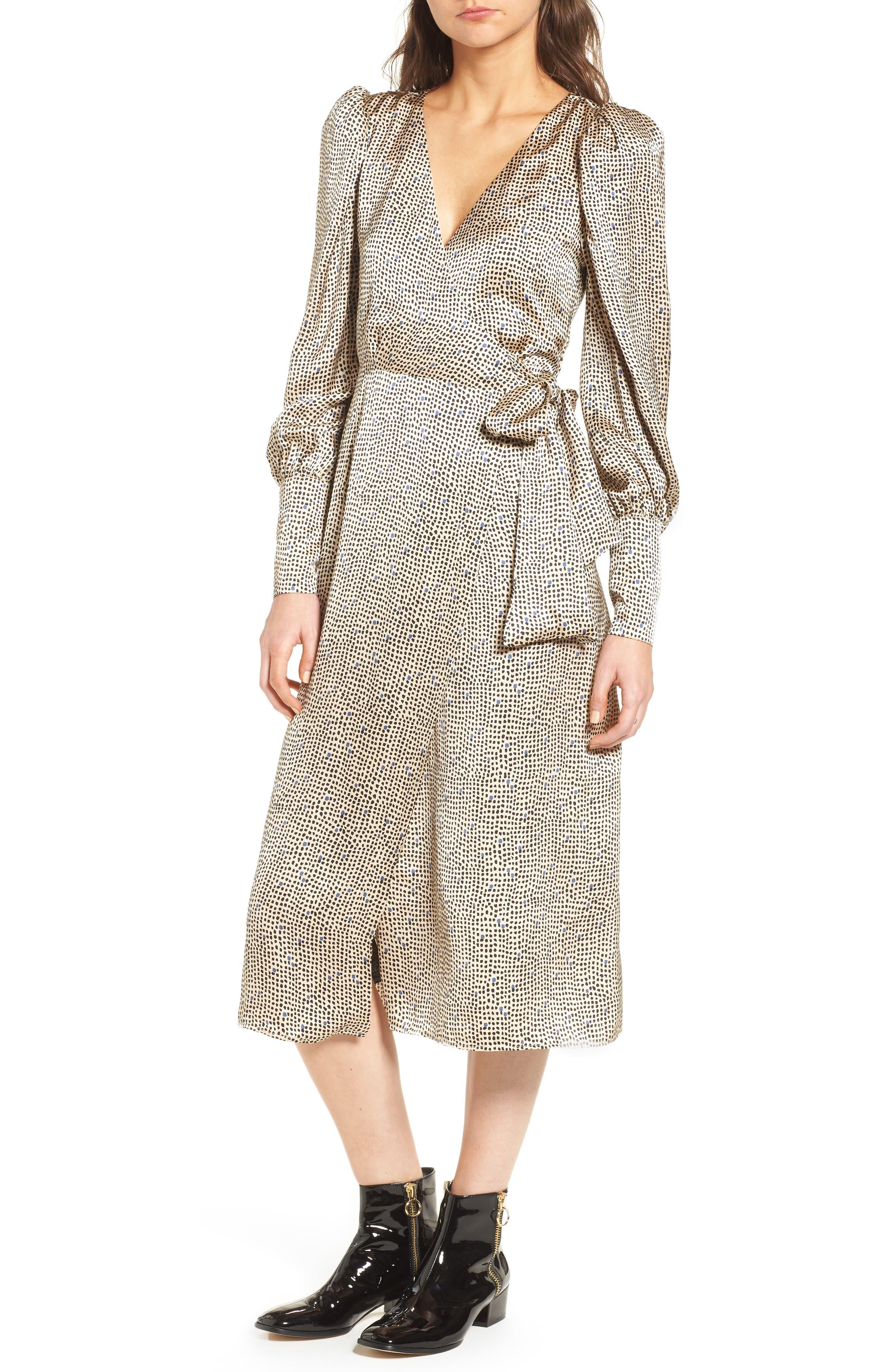 Mini Spot Wrap Dress,                             Main thumbnail 1, color,                             Beige Multi