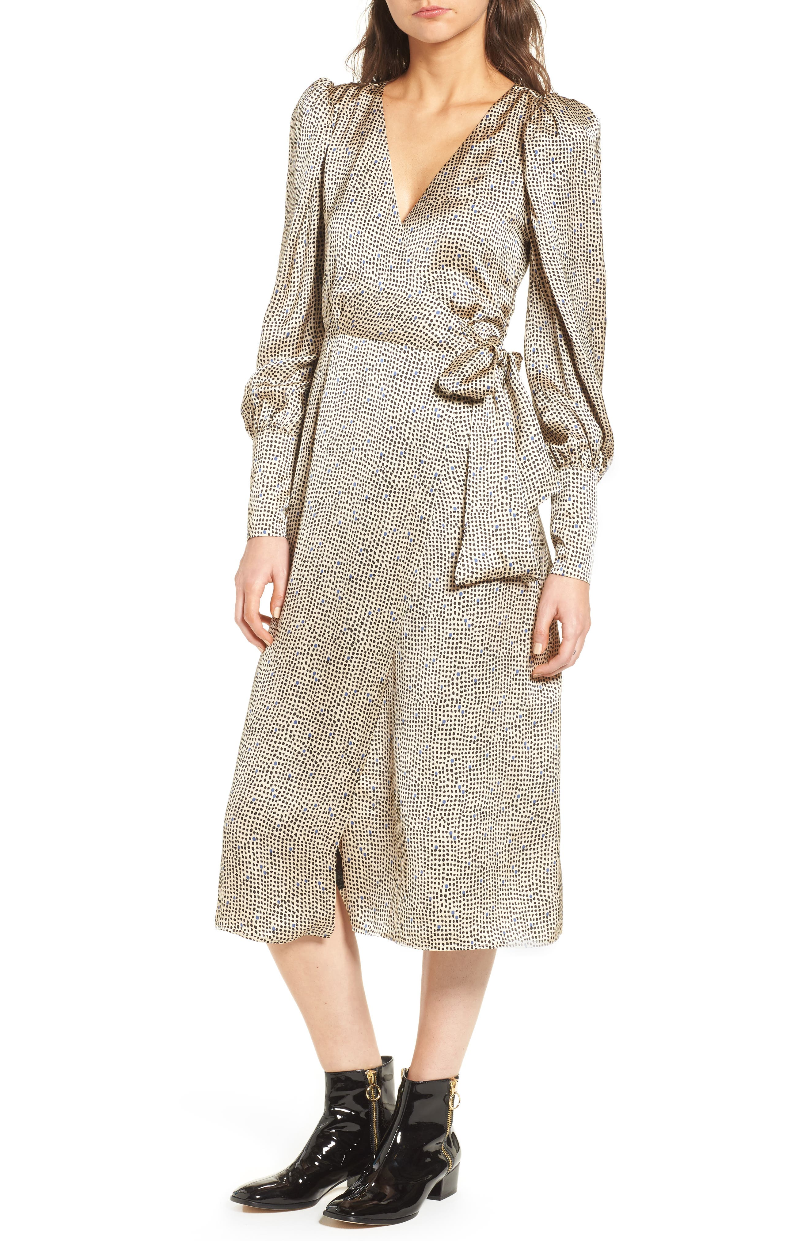 Mini Spot Wrap Dress,                         Main,                         color, Beige Multi