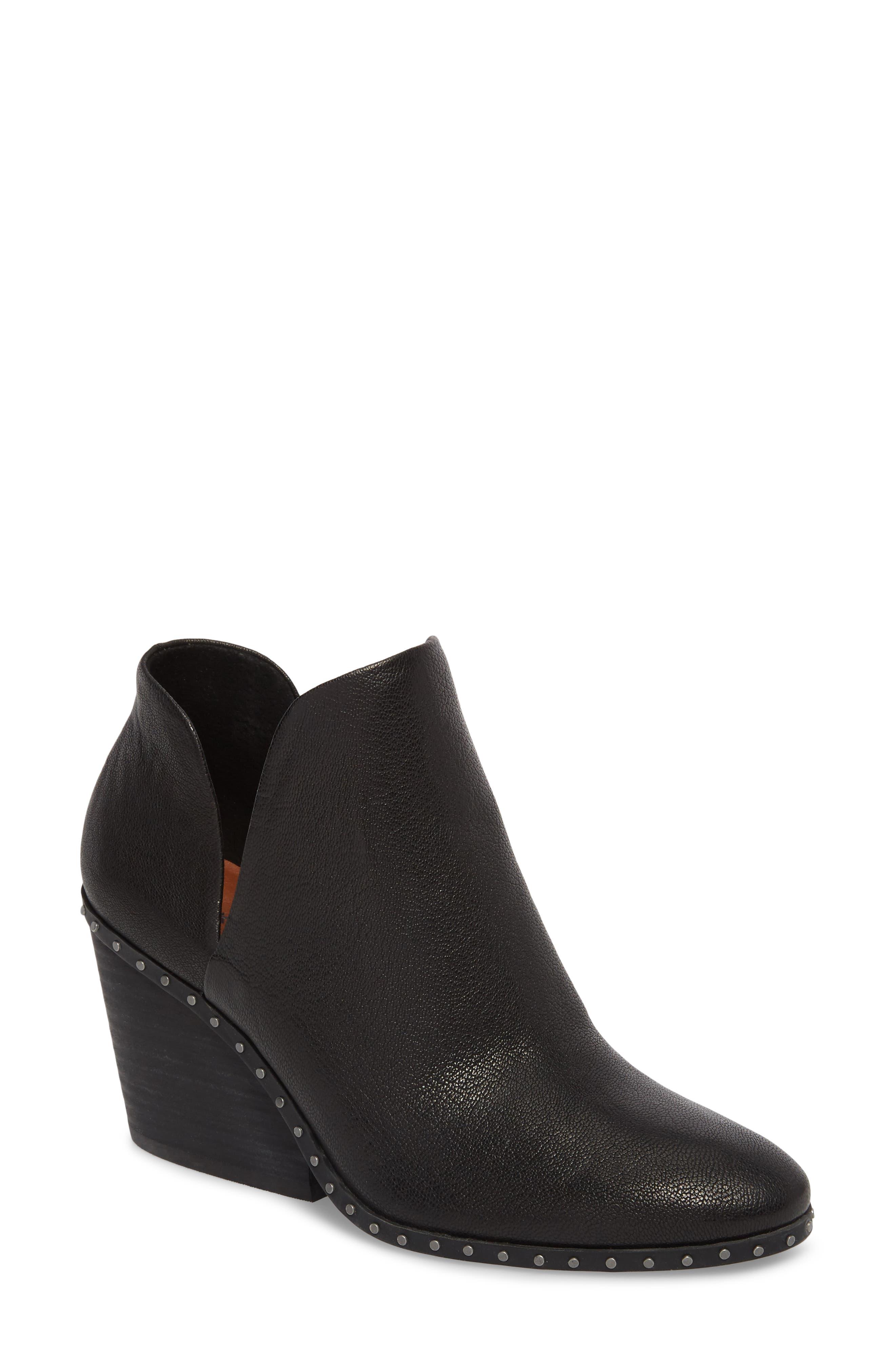 Lezzlee II Bootie,                         Main,                         color, Black Leather