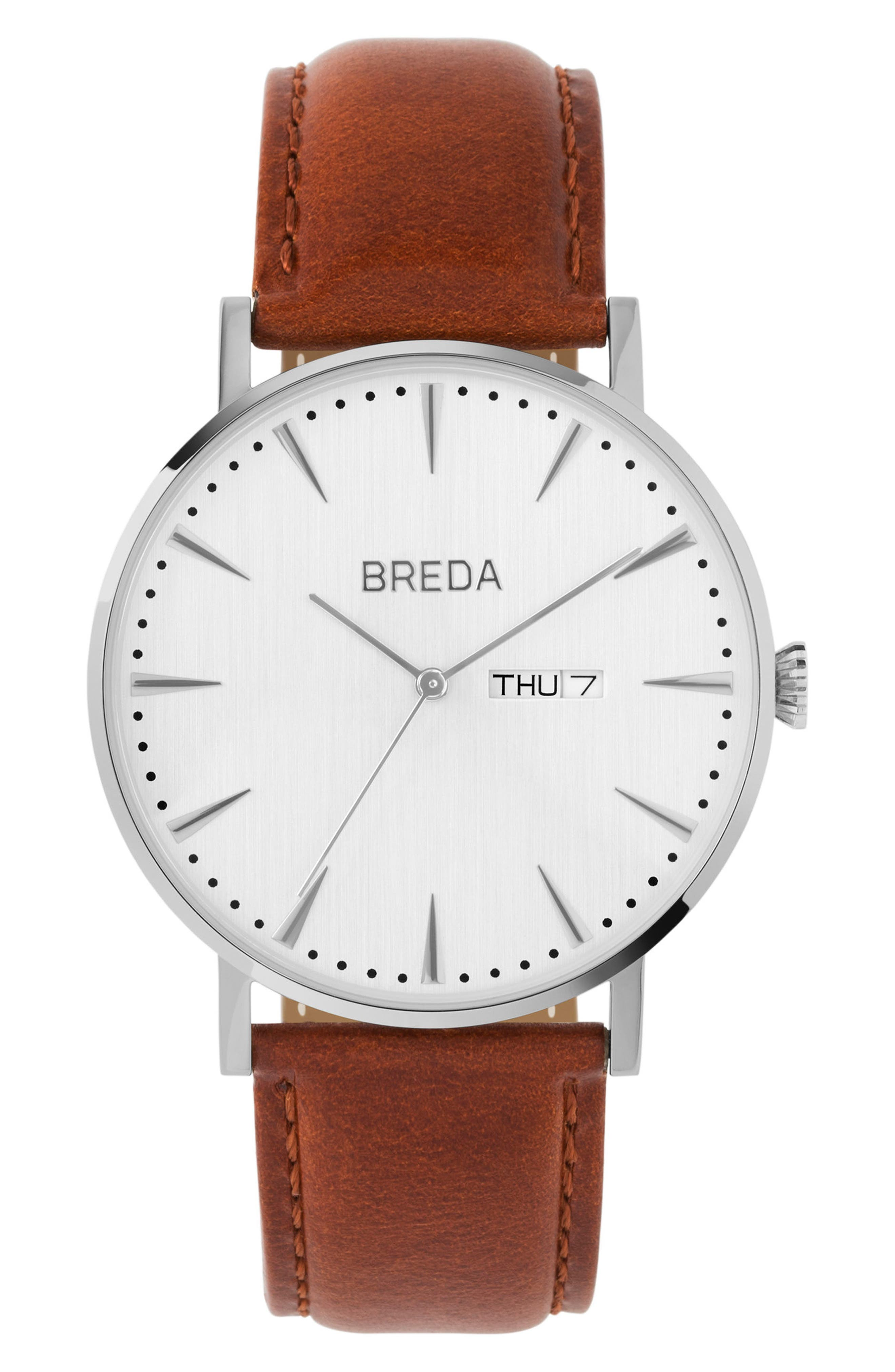BREDA Eero Round Leather Strap Watch, 42mm