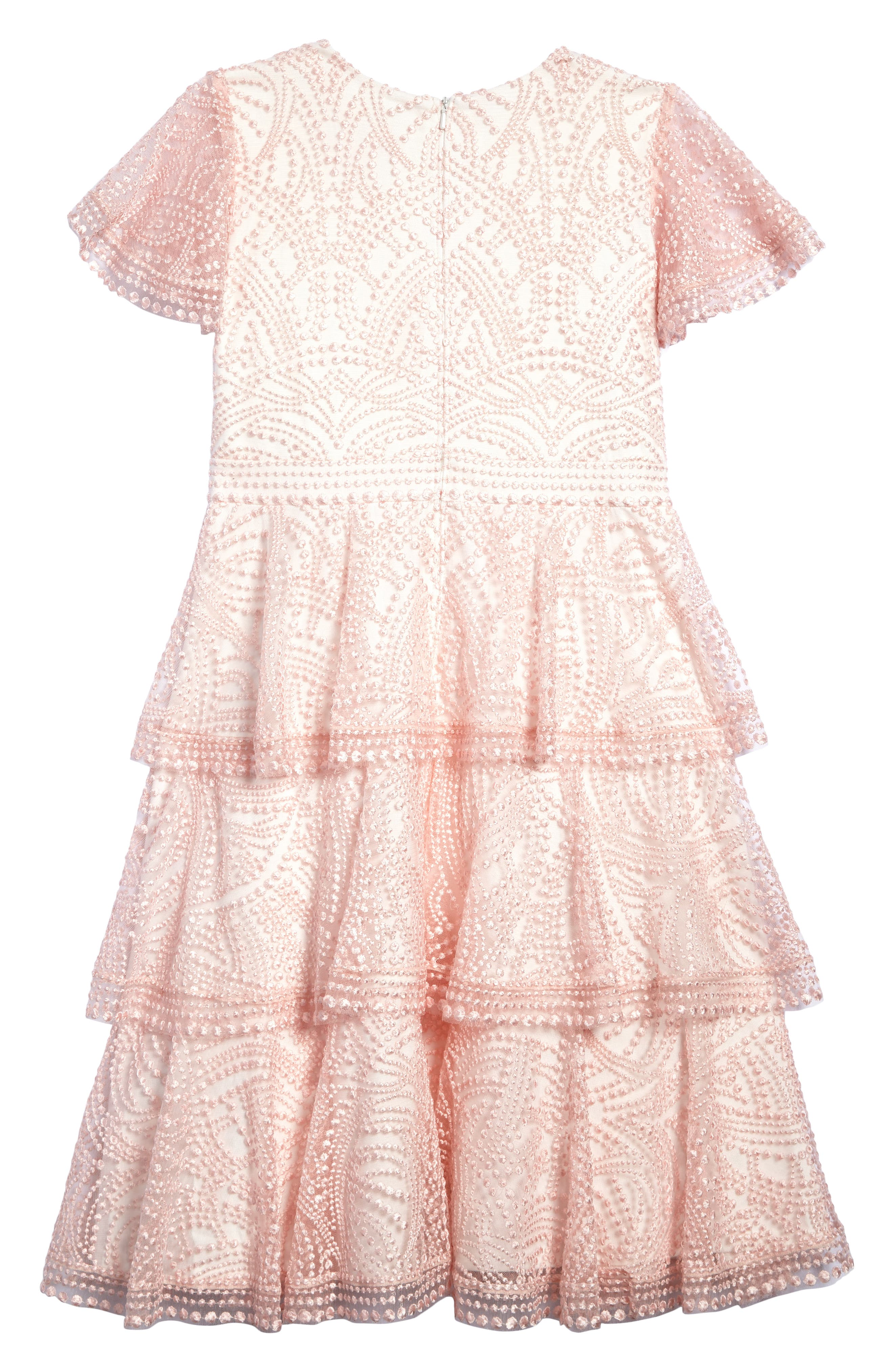 Embroidered Ruffle Dress,                             Alternate thumbnail 2, color,                             Pretty Pink