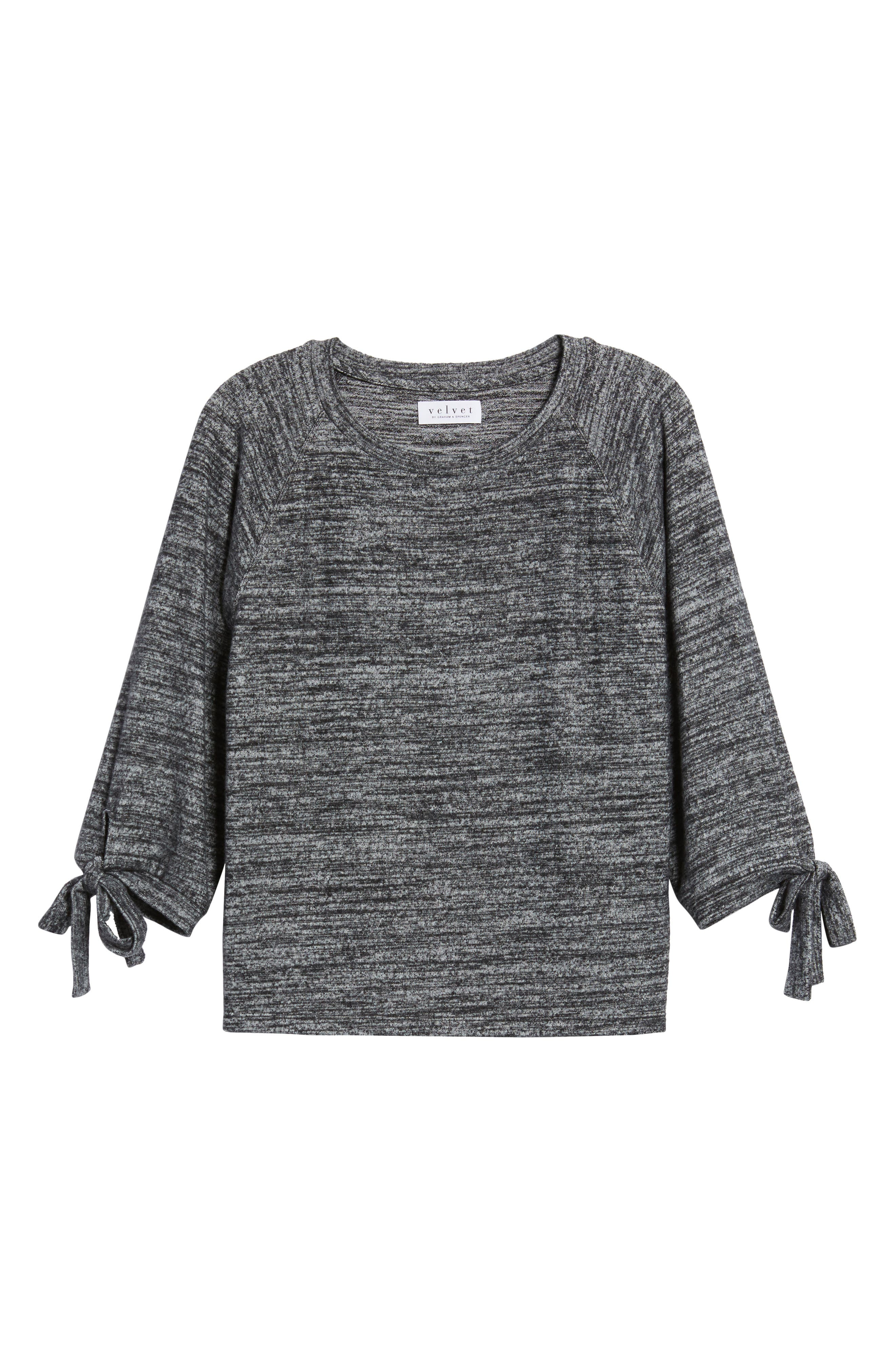 Tie Sleeve Jersey Top,                             Alternate thumbnail 6, color,                             Marled