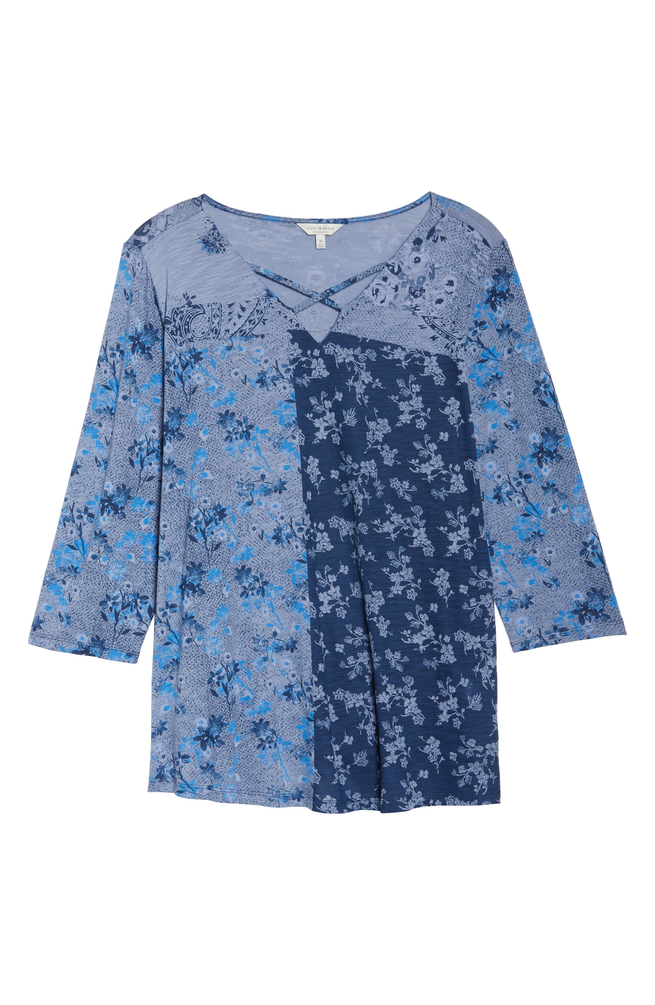 Madeline Floral Top,                             Alternate thumbnail 6, color,                             Blue Multi