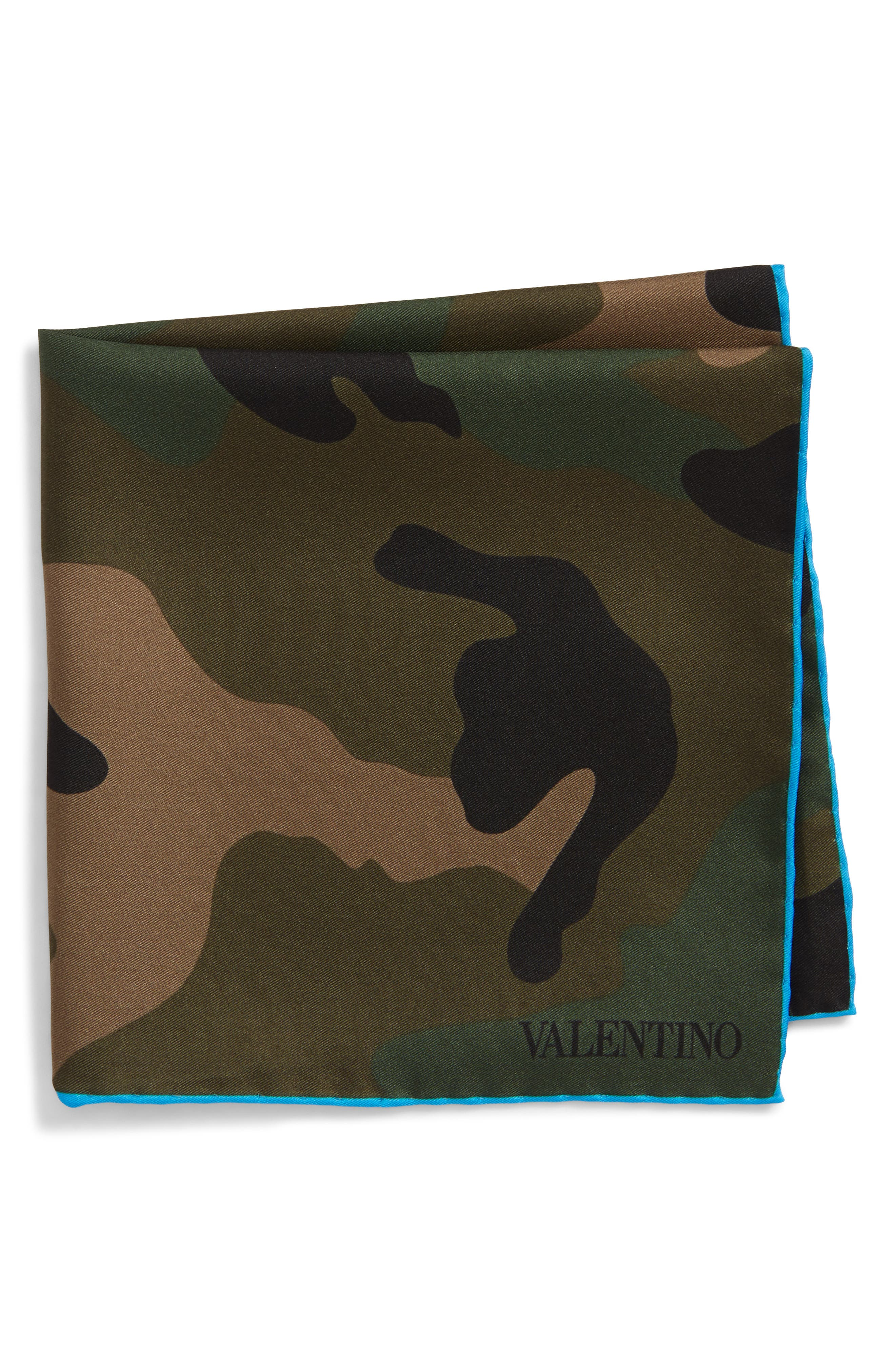 Valentino Camo Silk Pocket Square