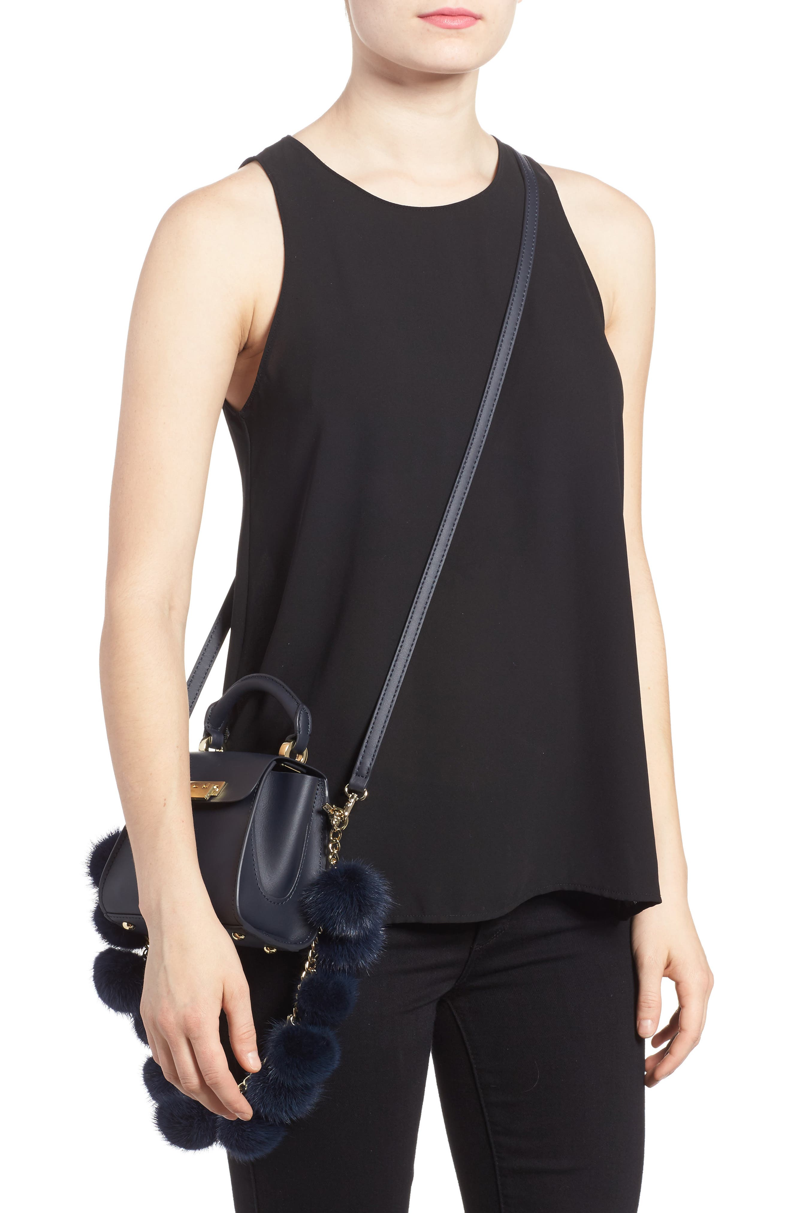 Eartha Iconic Leather Satchel with Genuine Mink Fur Strap,                             Alternate thumbnail 2, color,                             Navy