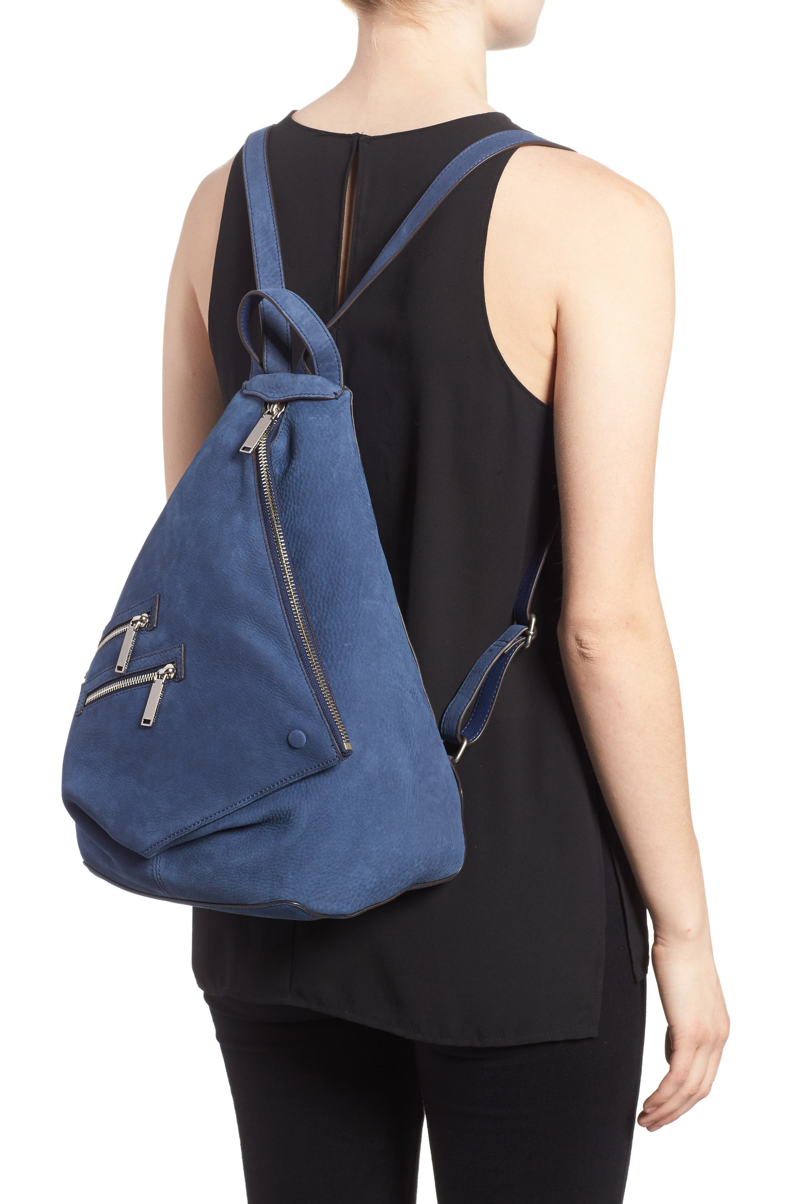 Jamie Nubuck Leather Backpack,                             Alternate thumbnail 2, color,                             True Navy