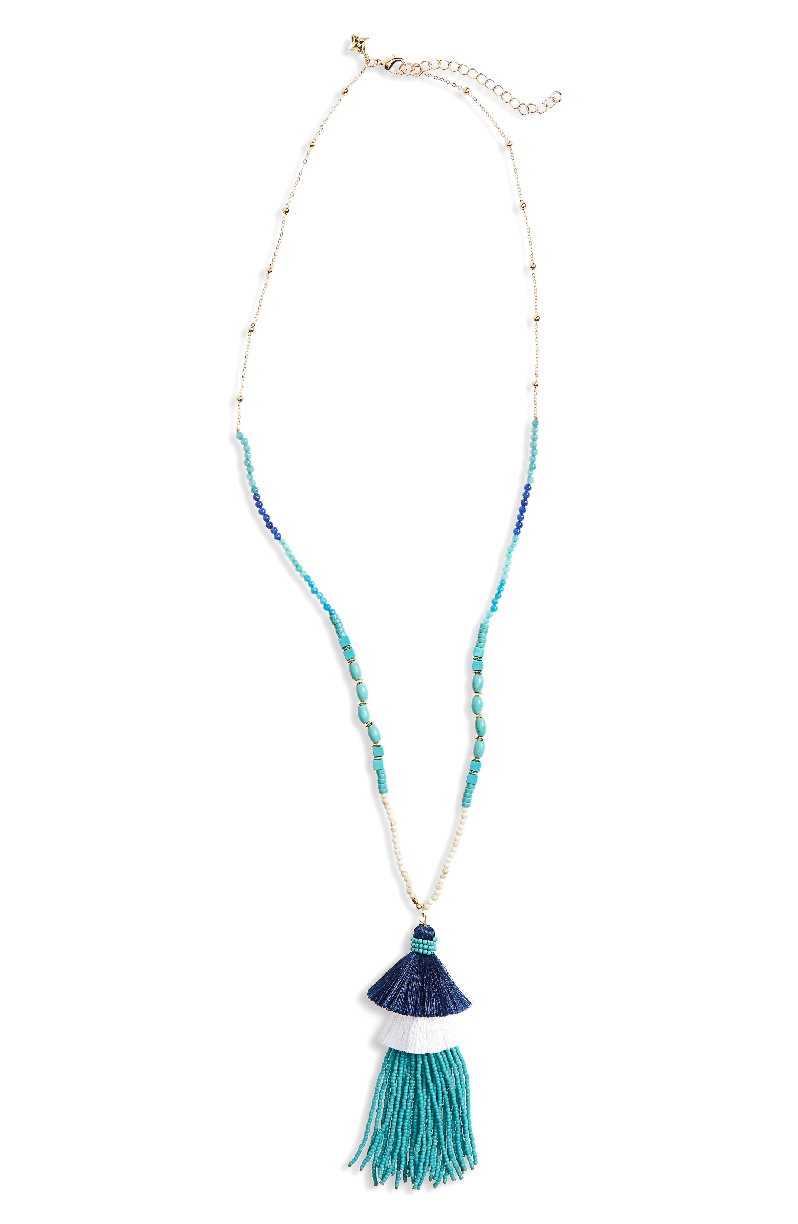 Stacked Tassel Pendant Necklace,                         Main,                         color, Turquoise