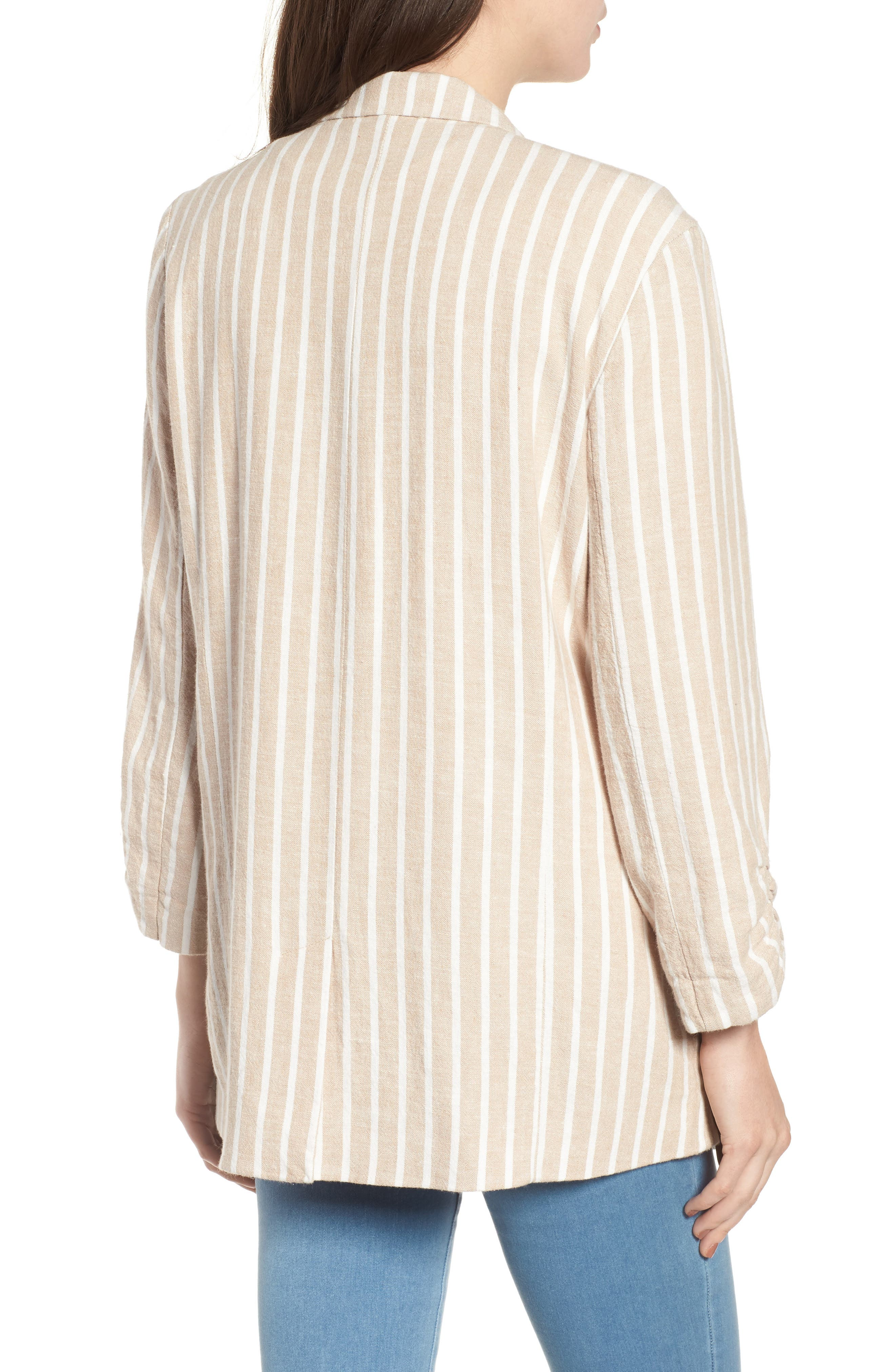 Cinch Sleeve Blazer,                             Alternate thumbnail 2, color,                             Tan Nomad Ella Linen Stripe