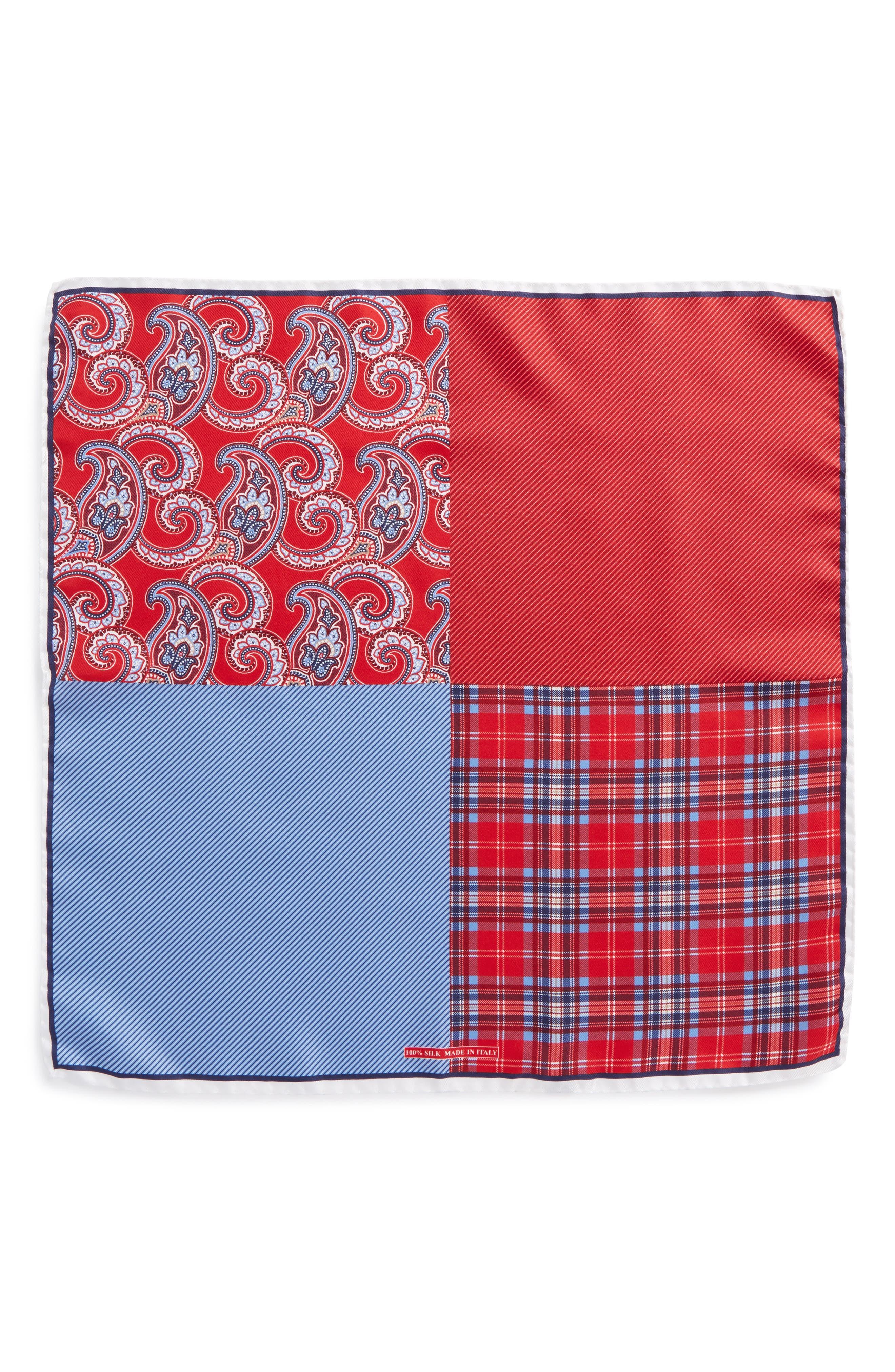 Four Panel Silk Pocket Square,                             Alternate thumbnail 3, color,                             Red