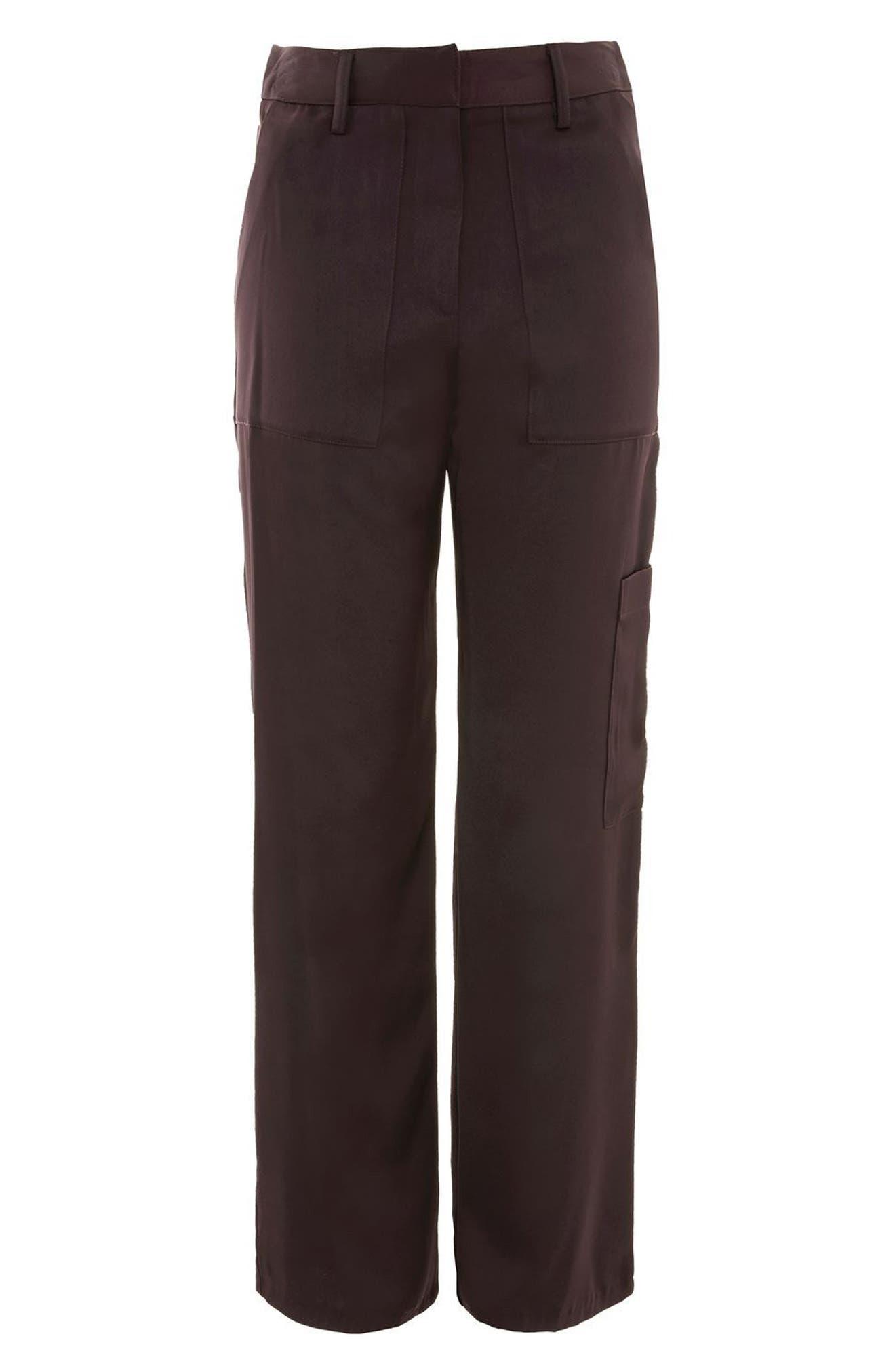 Satin Wide Leg Utility Trousers,                             Alternate thumbnail 4, color,                             Aubergine