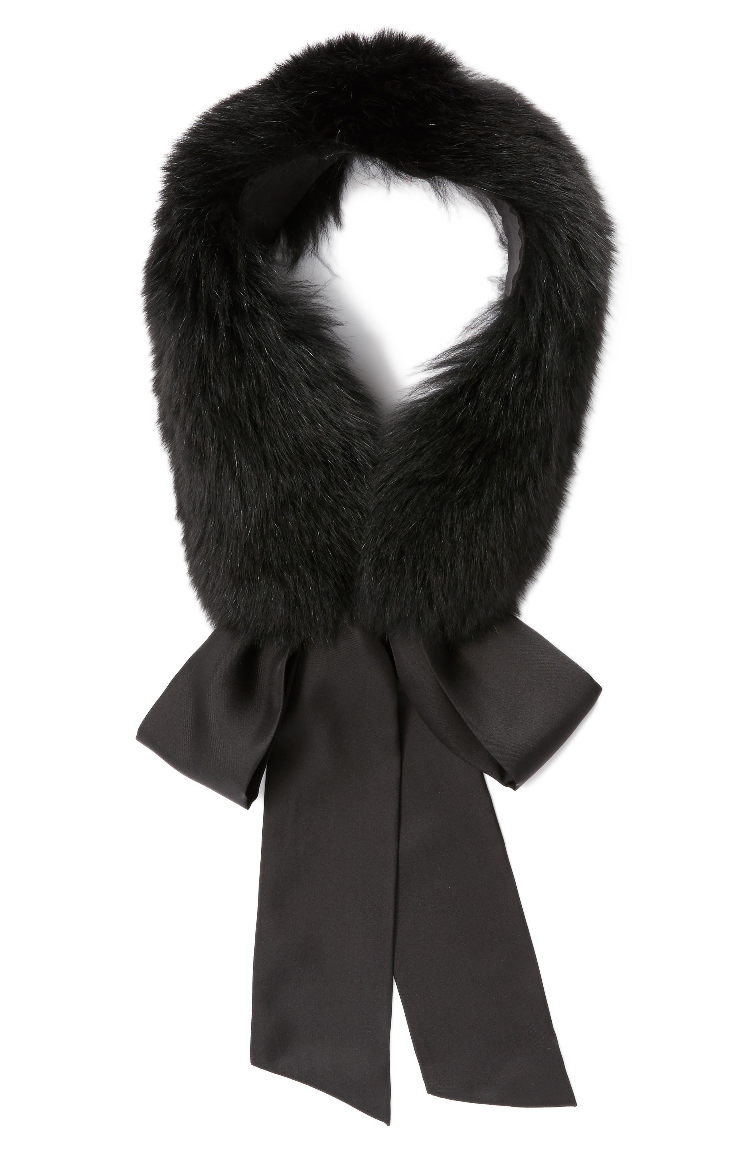 Cecilia Genuine Fox Fur Collar,                             Alternate thumbnail 2, color,                             Black
