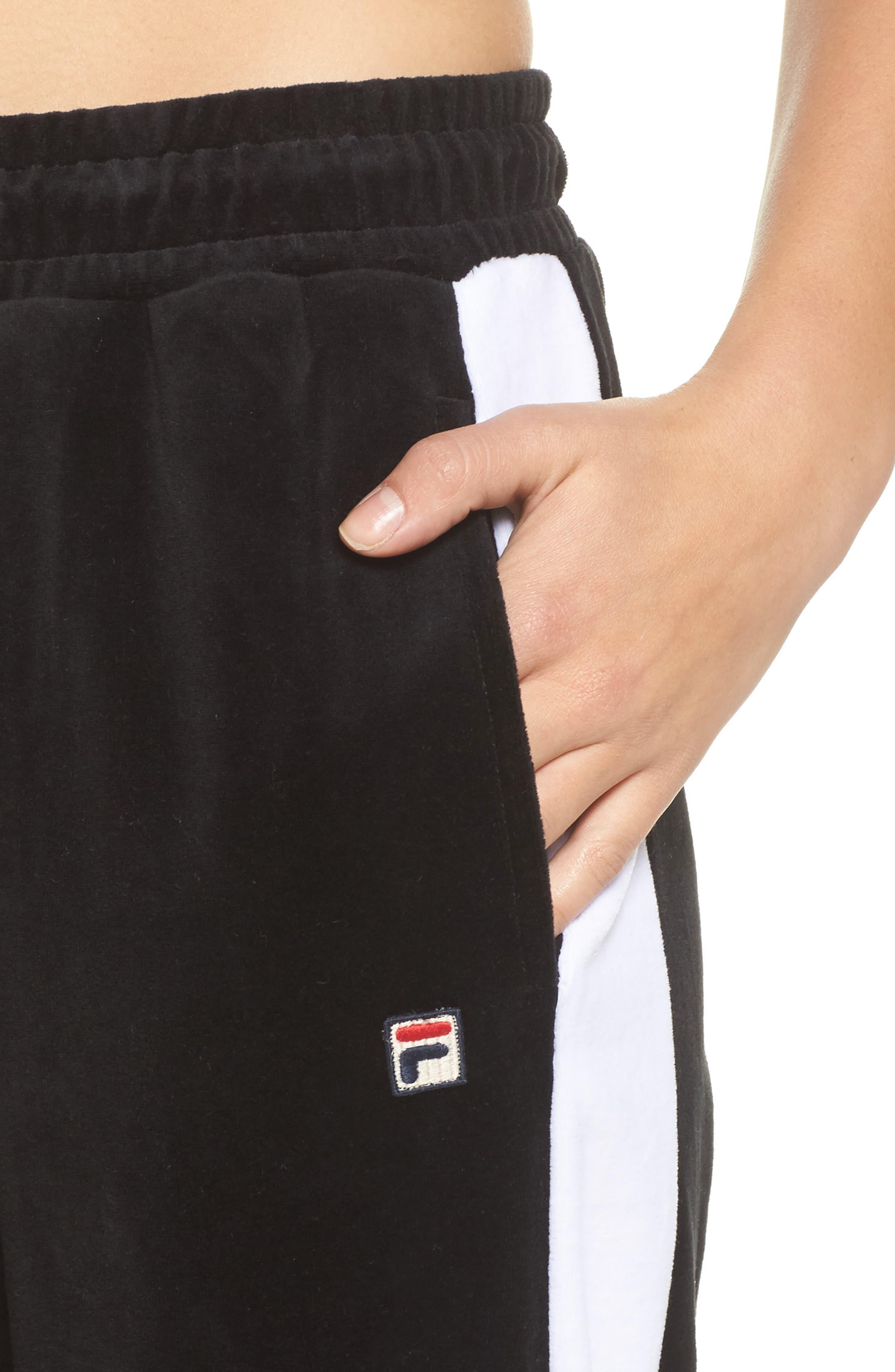 Bonnie Velour Track Pants,                             Alternate thumbnail 4, color,                             Black/ White