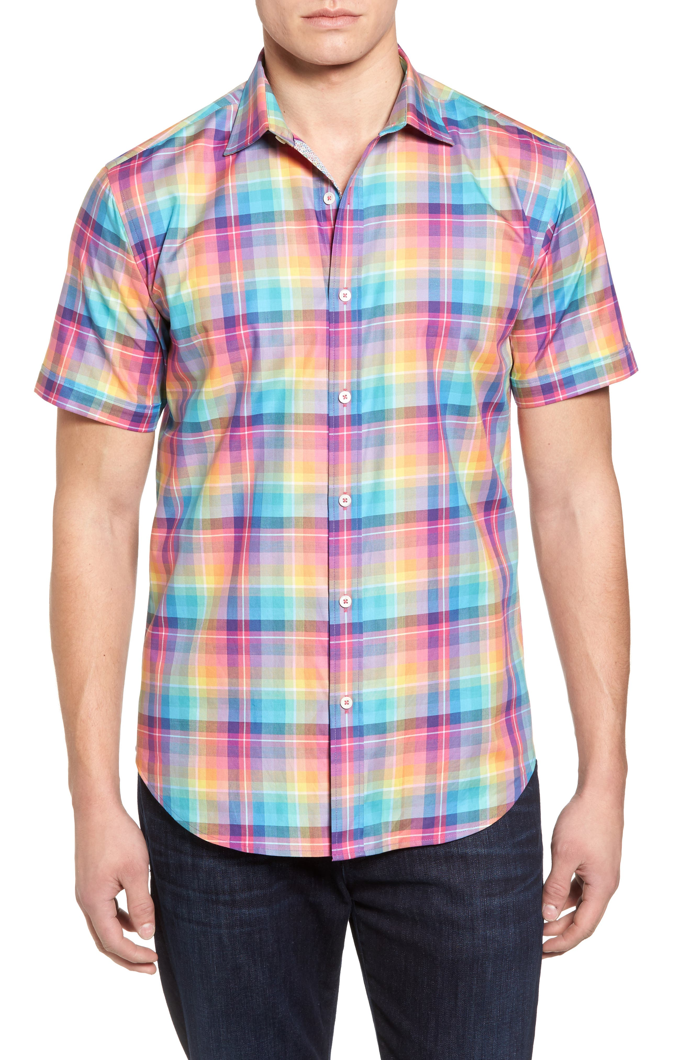 Shaped Fit Plaid Sport Shirt,                             Main thumbnail 1, color,                             Paradise