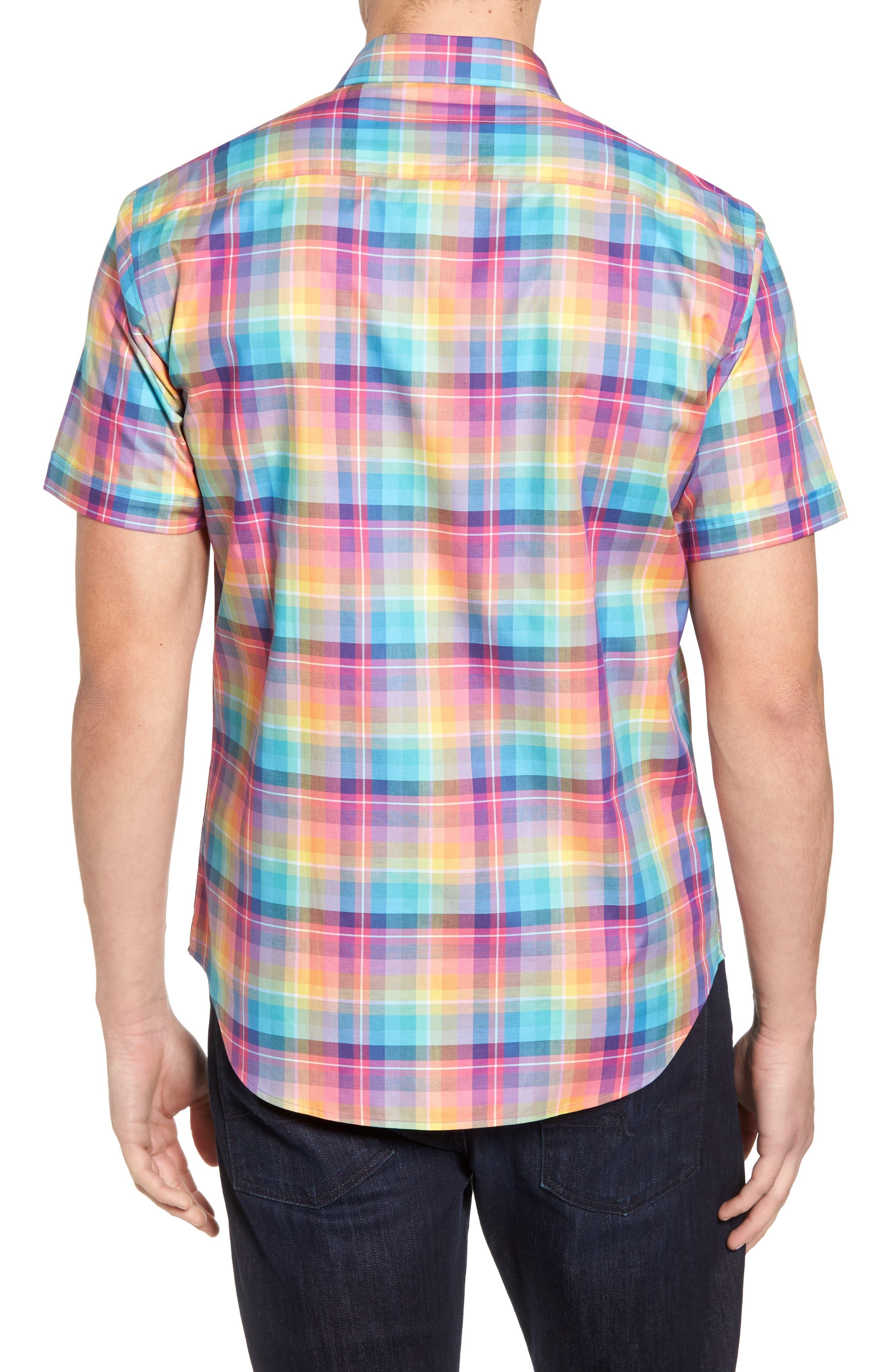 Shaped Fit Plaid Sport Shirt,                             Alternate thumbnail 2, color,                             Paradise