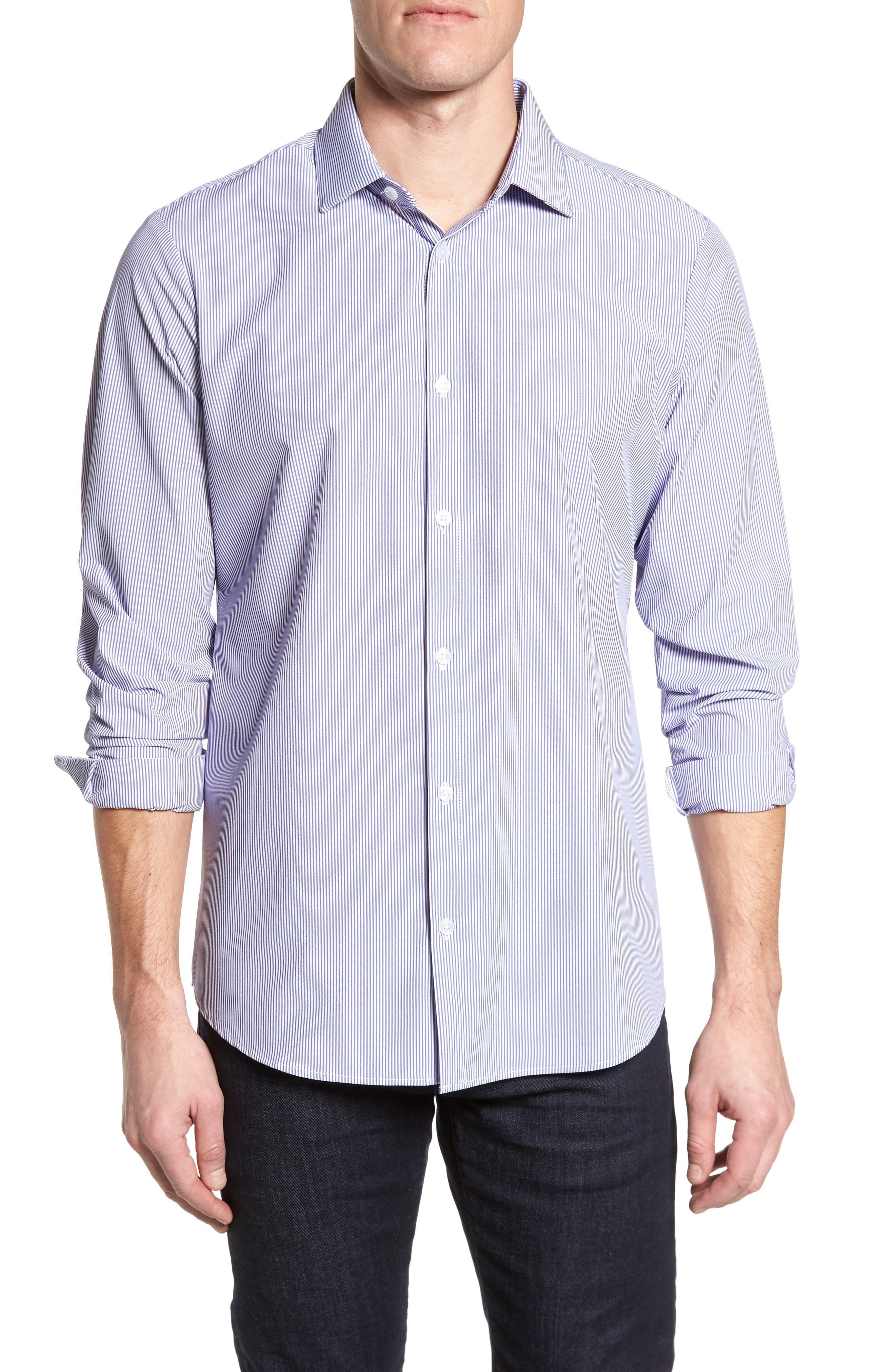 Newport Pinstripe Sport Shirt,                             Main thumbnail 1, color,                             Blue