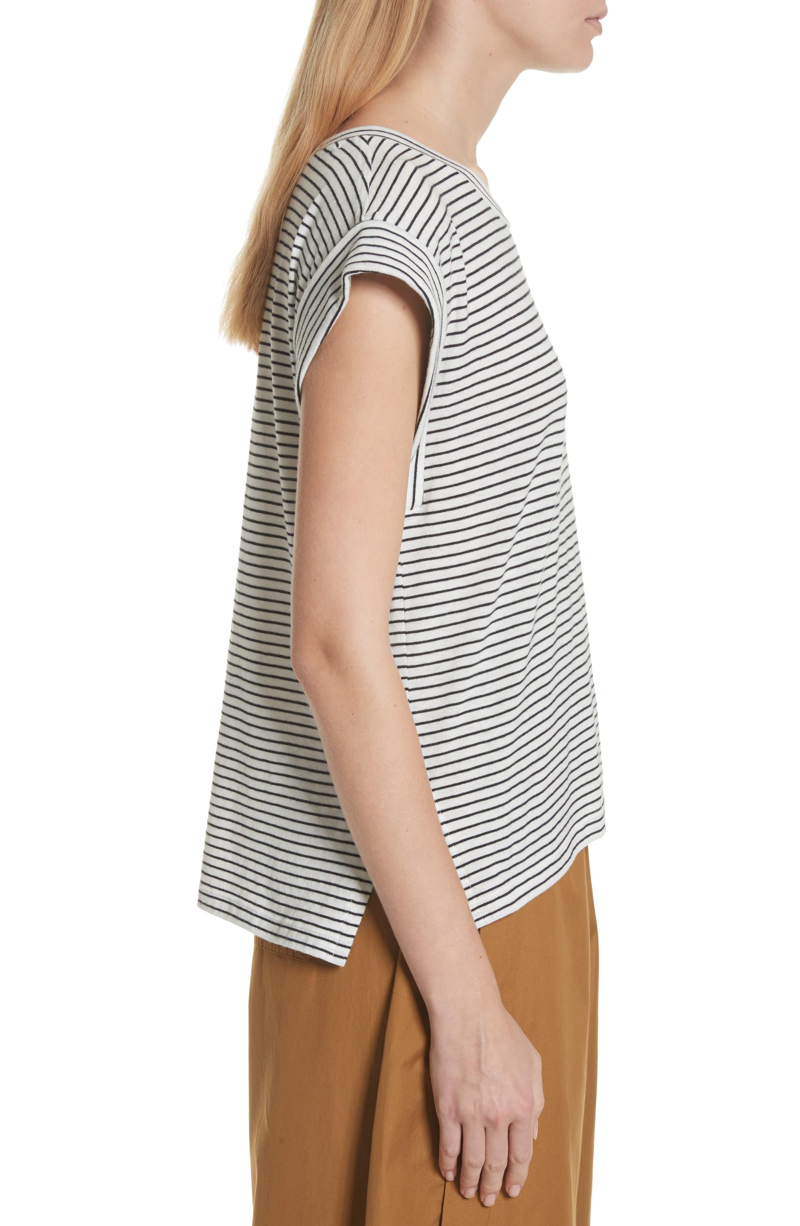 Classic Stripe Rolled Sleeve Cotton Tee,                             Alternate thumbnail 3, color,                             Vanilla/ Coastal