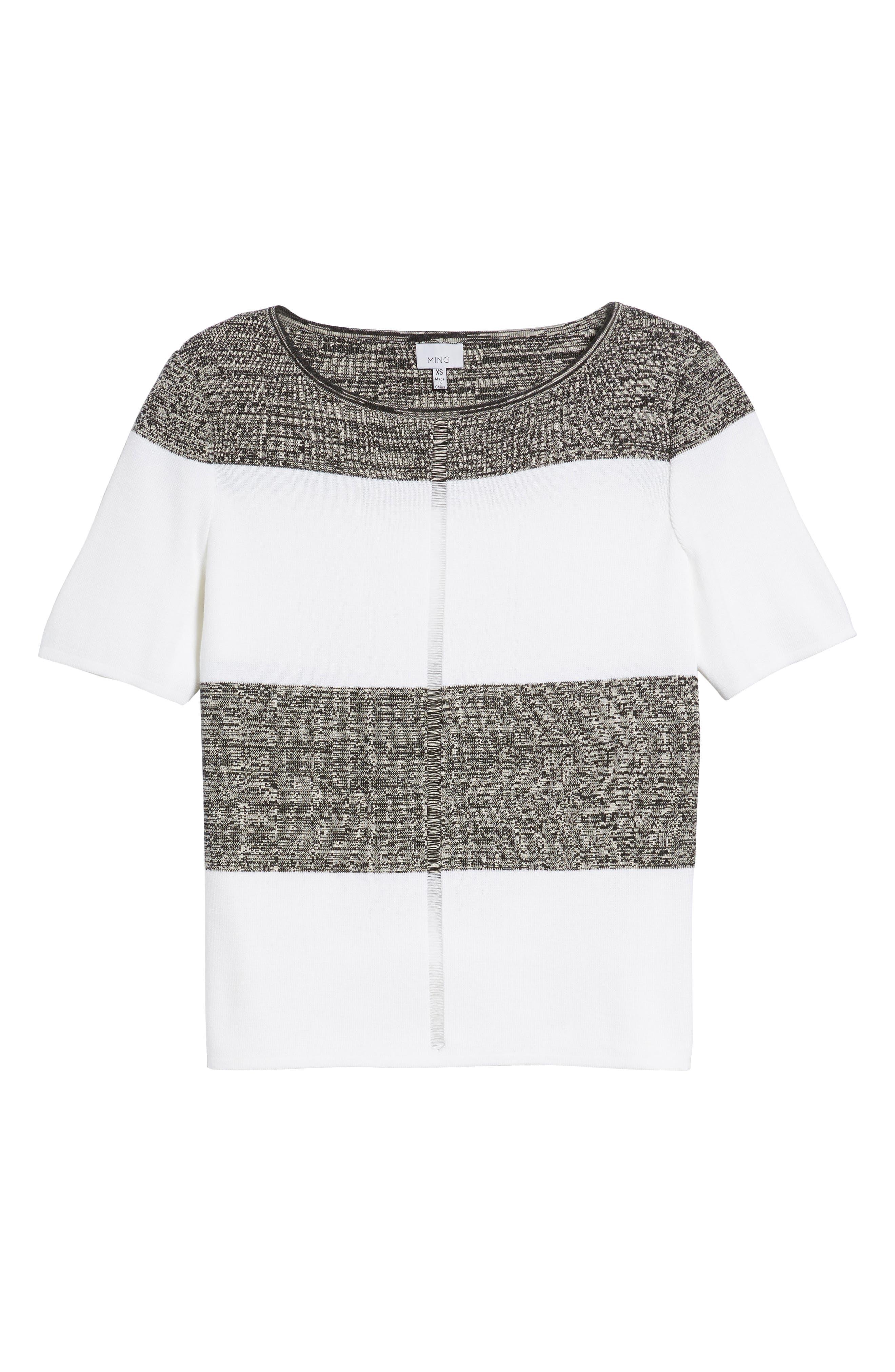 Stripe Open Back Pullover,                             Alternate thumbnail 6, color,                             White/ Almond Beige/ Black
