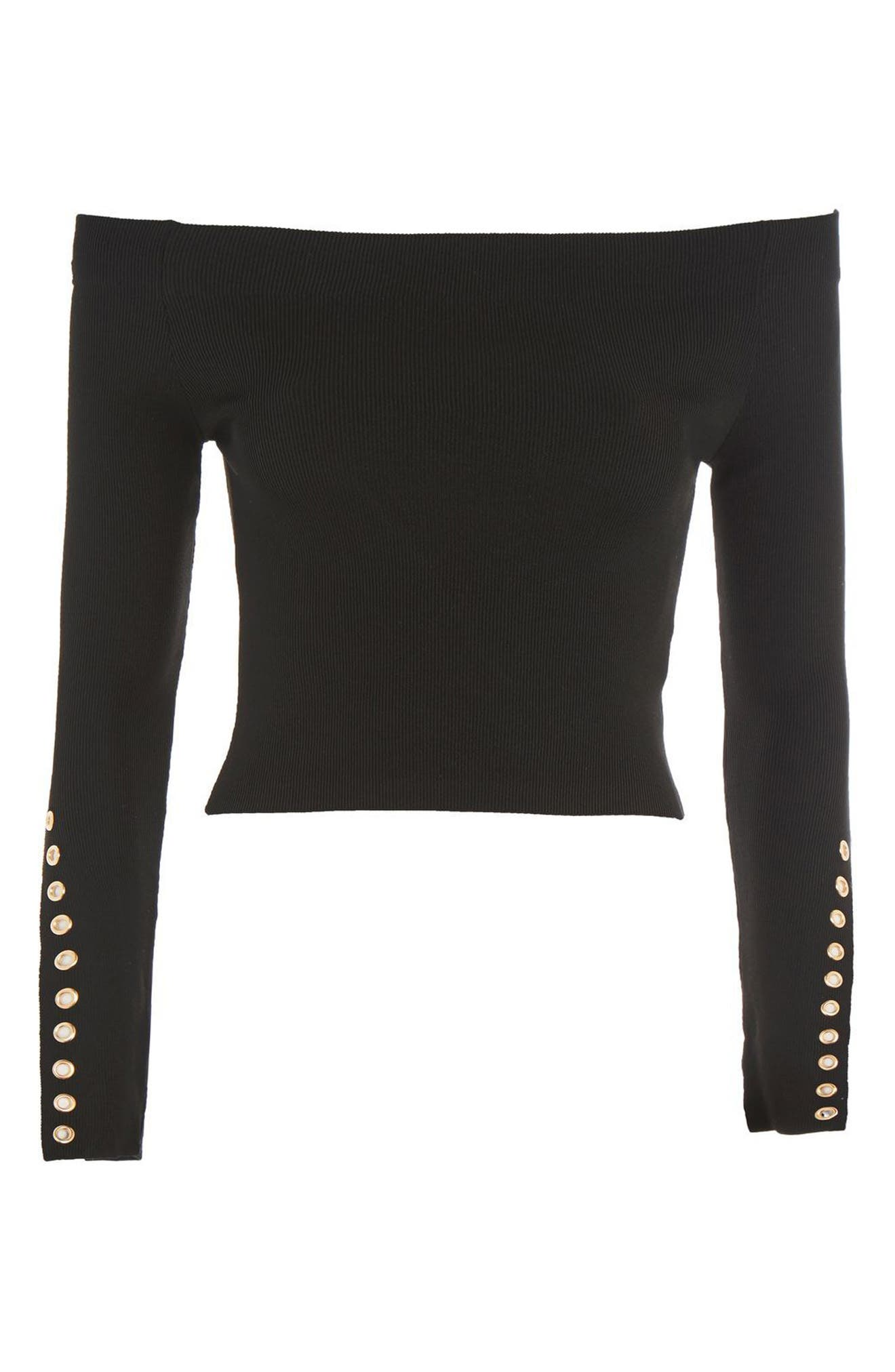 Alternate Image 4  - Topshop Eyelet Cuff Off the Shoulder Sweater