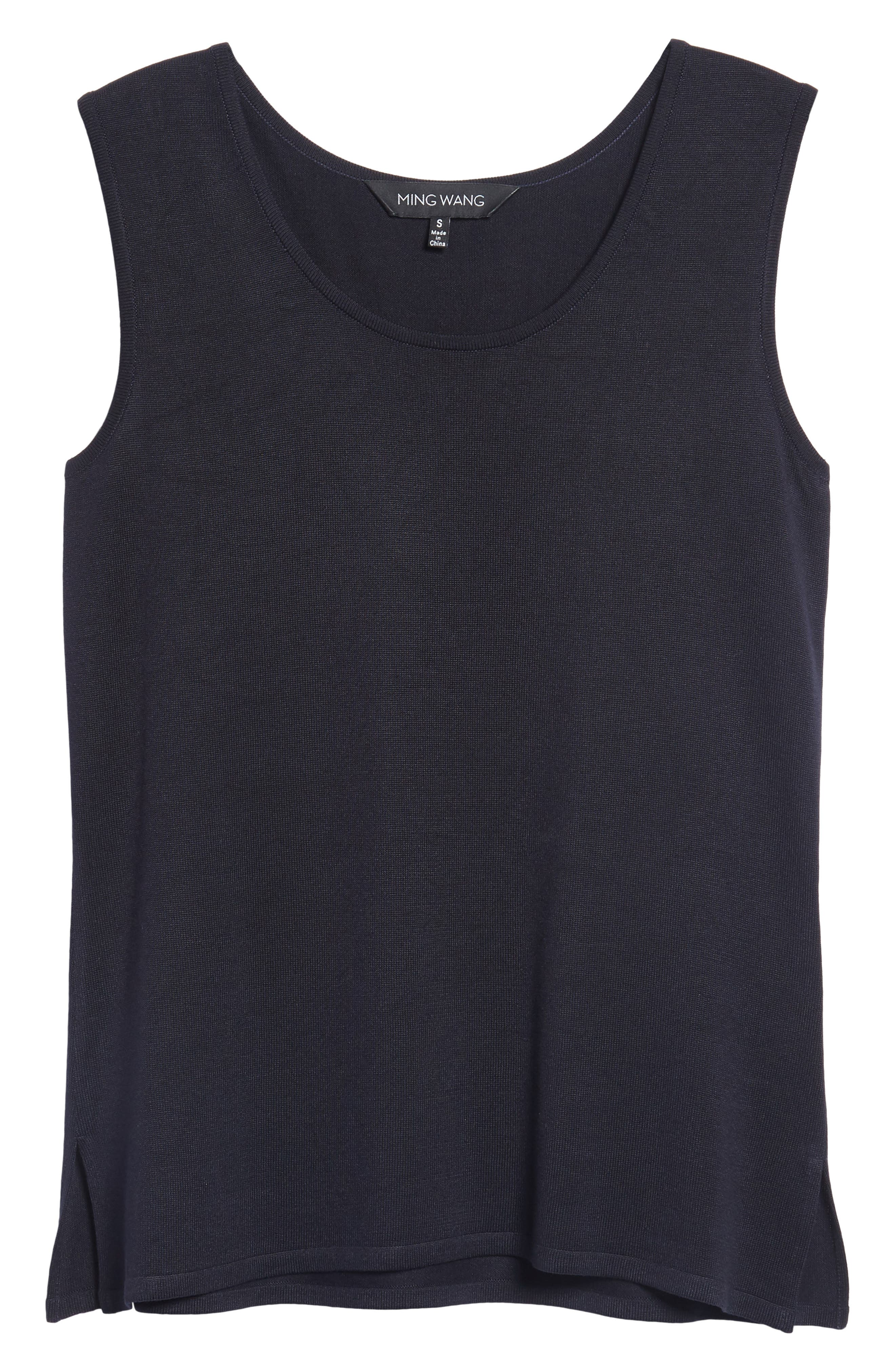 Long Knit Tank,                             Alternate thumbnail 6, color,                             Navy