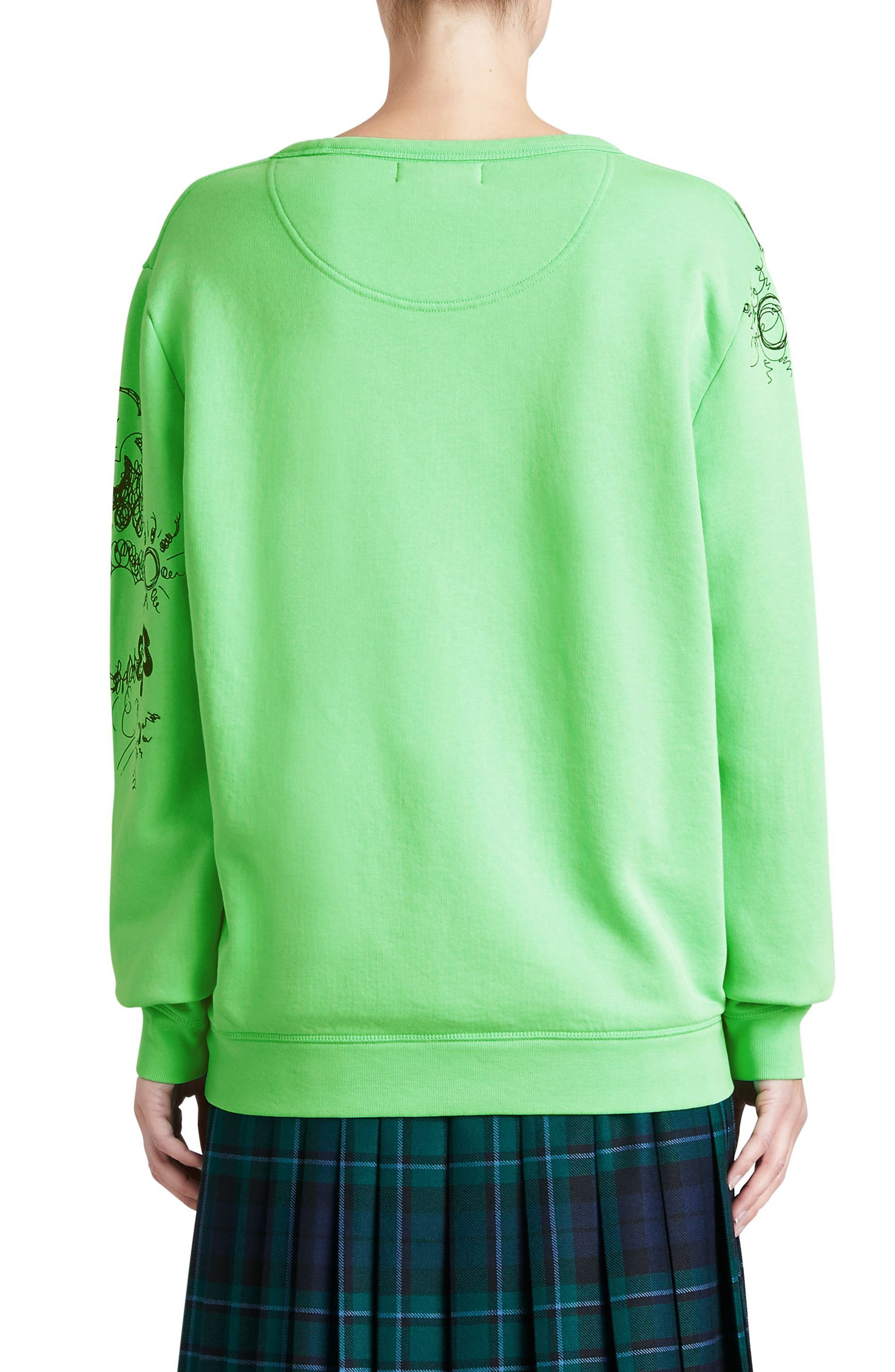 Madon Print Sweatshirt,                             Alternate thumbnail 2, color,                             Bright Apple Green