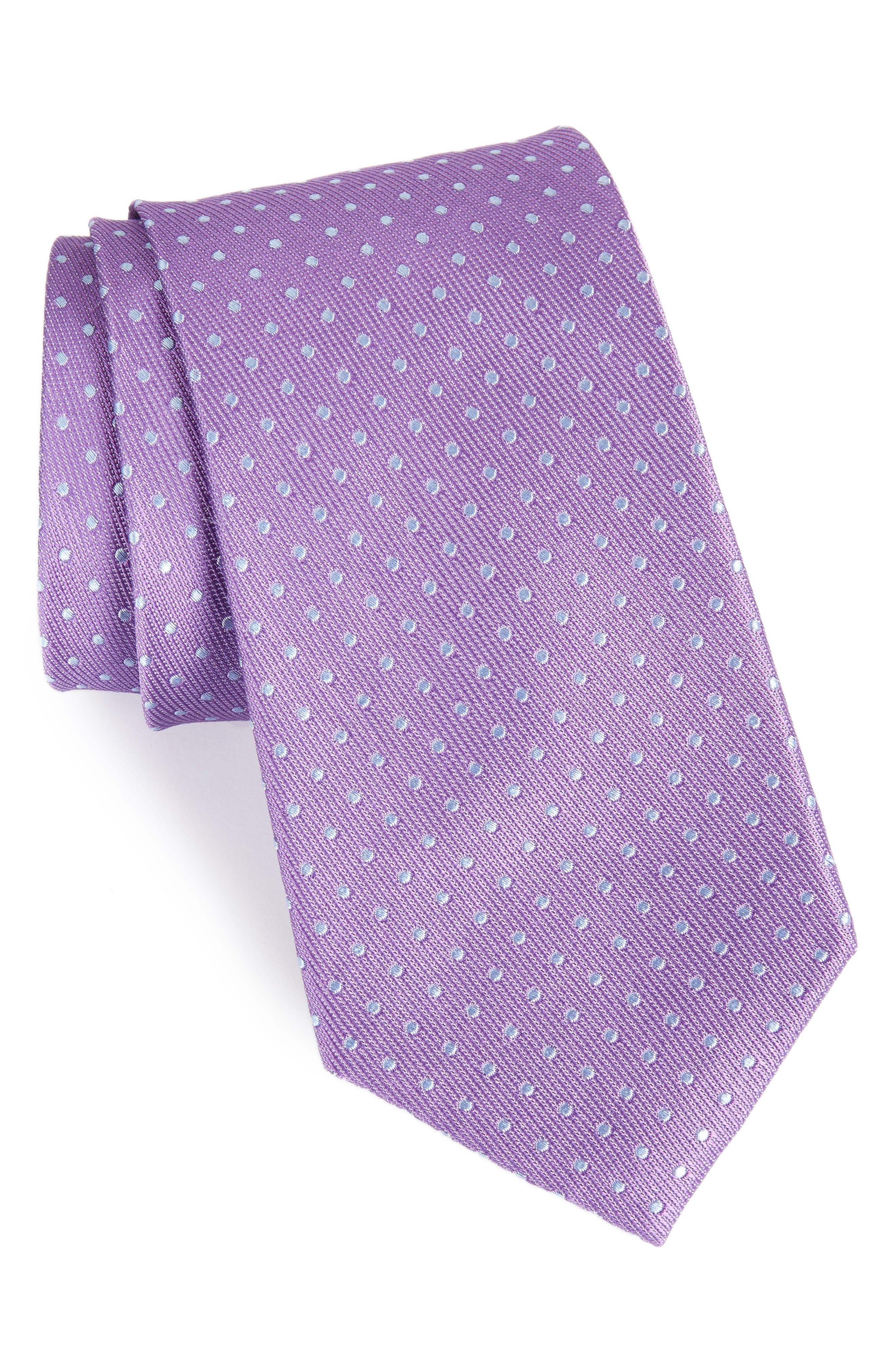 Sturridge Dot Silk Tie,                         Main,                         color, Purple