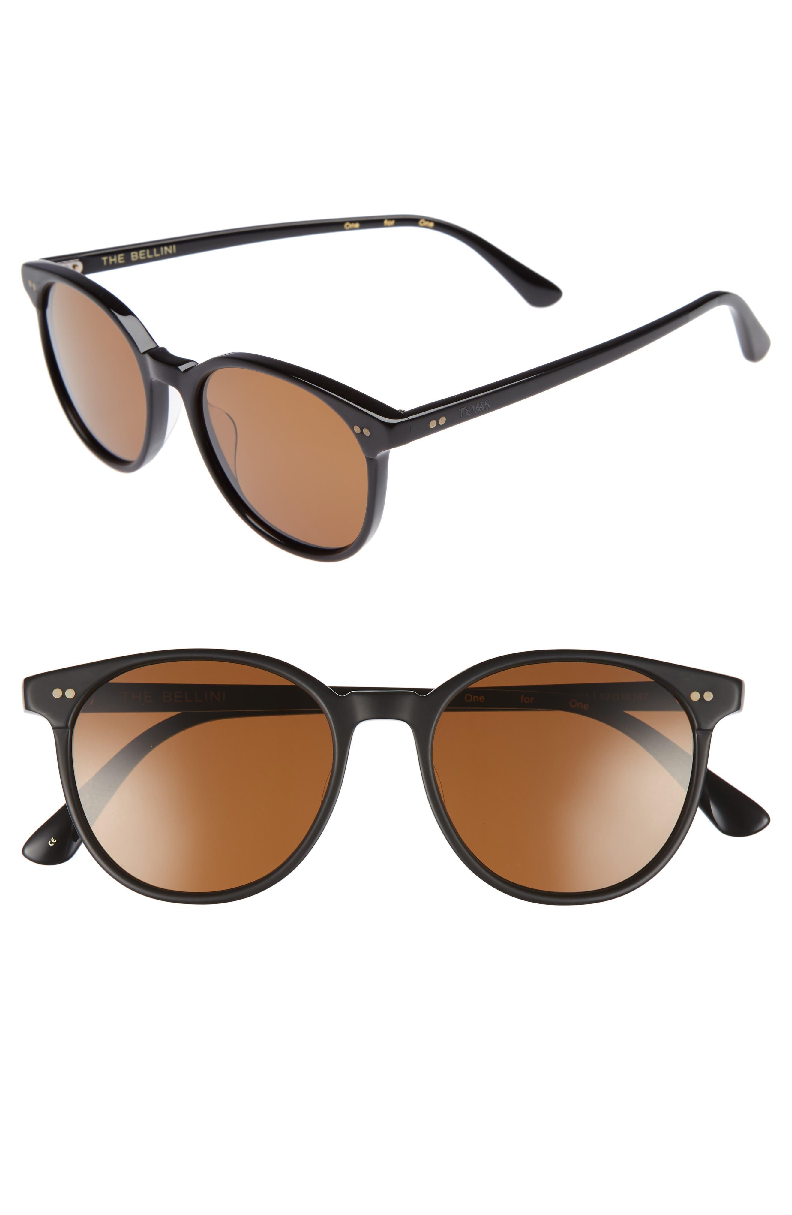 Bellini 52mm Sunglasses,                             Main thumbnail 1, color,                             Matte Black