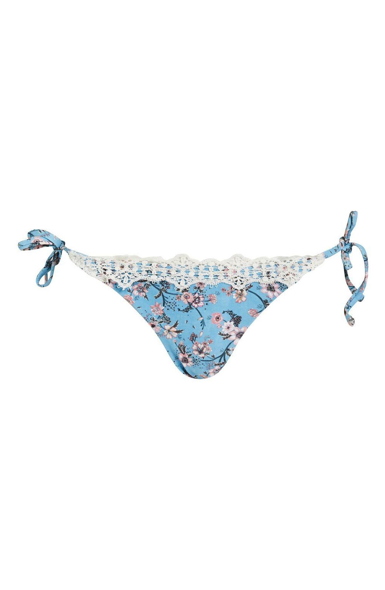 Ditsy Lace Trim Tie Side Bikini Bottoms,                         Main,                         color, Blue Multi